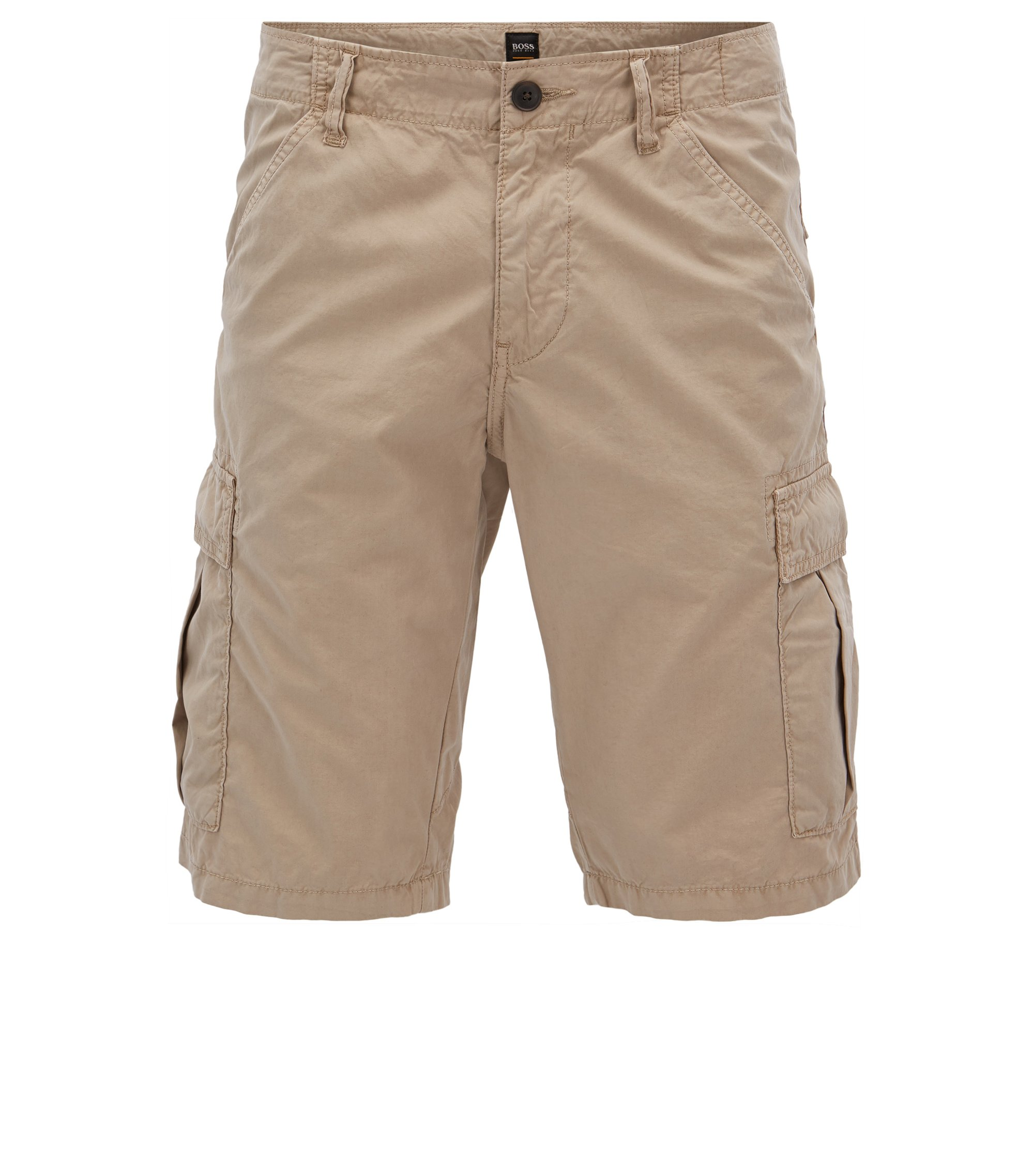 Tapered-leg shorts in double-dyed cotton poplin, Beige