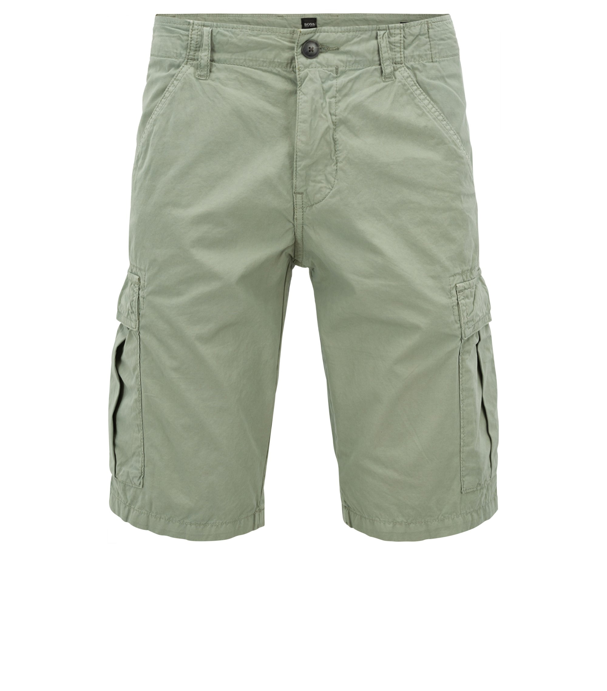 Tapered-leg shorts in double-dyed cotton poplin, Light Green
