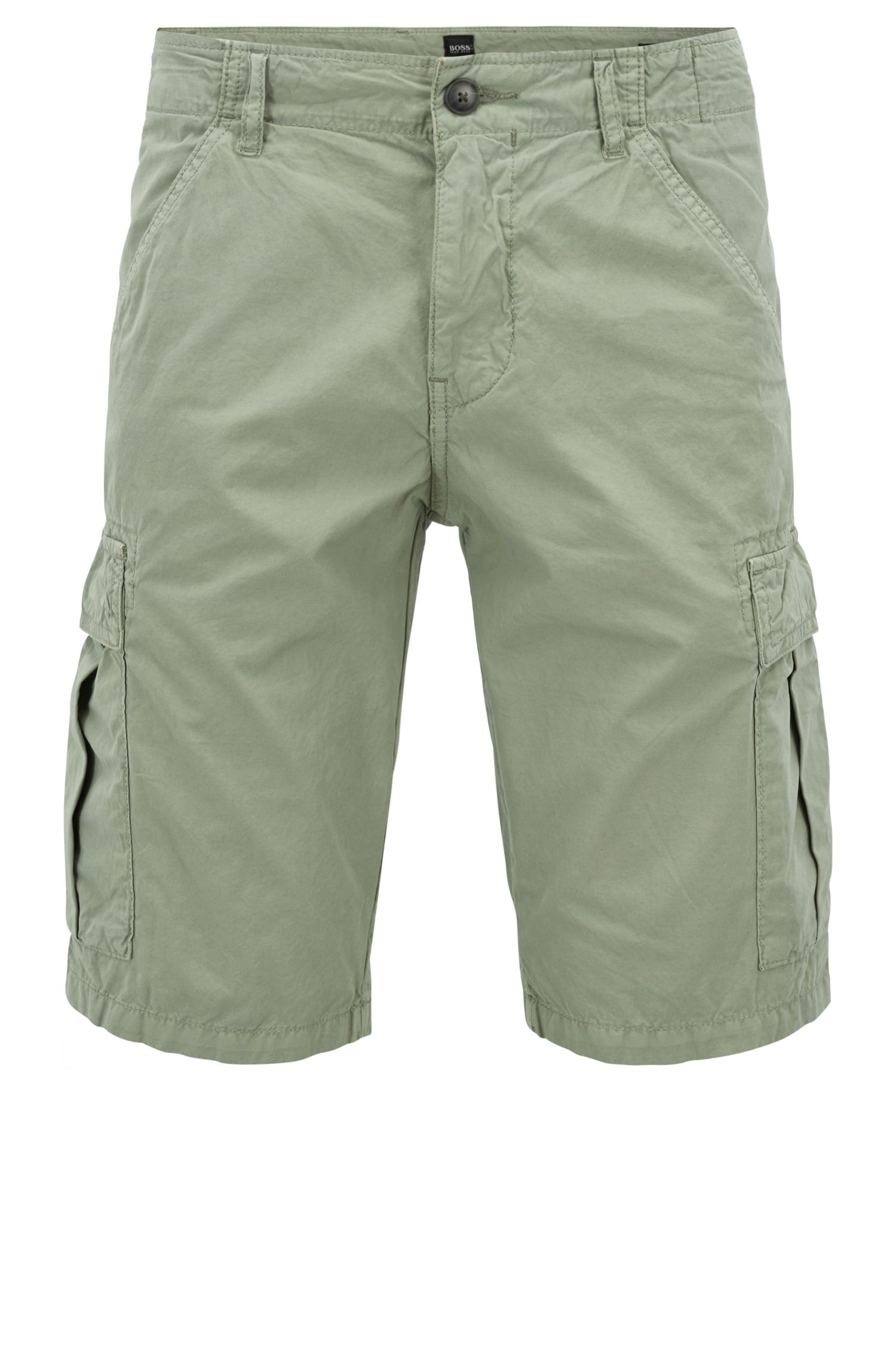Tapered-leg shorts in double-dyed cotton poplin