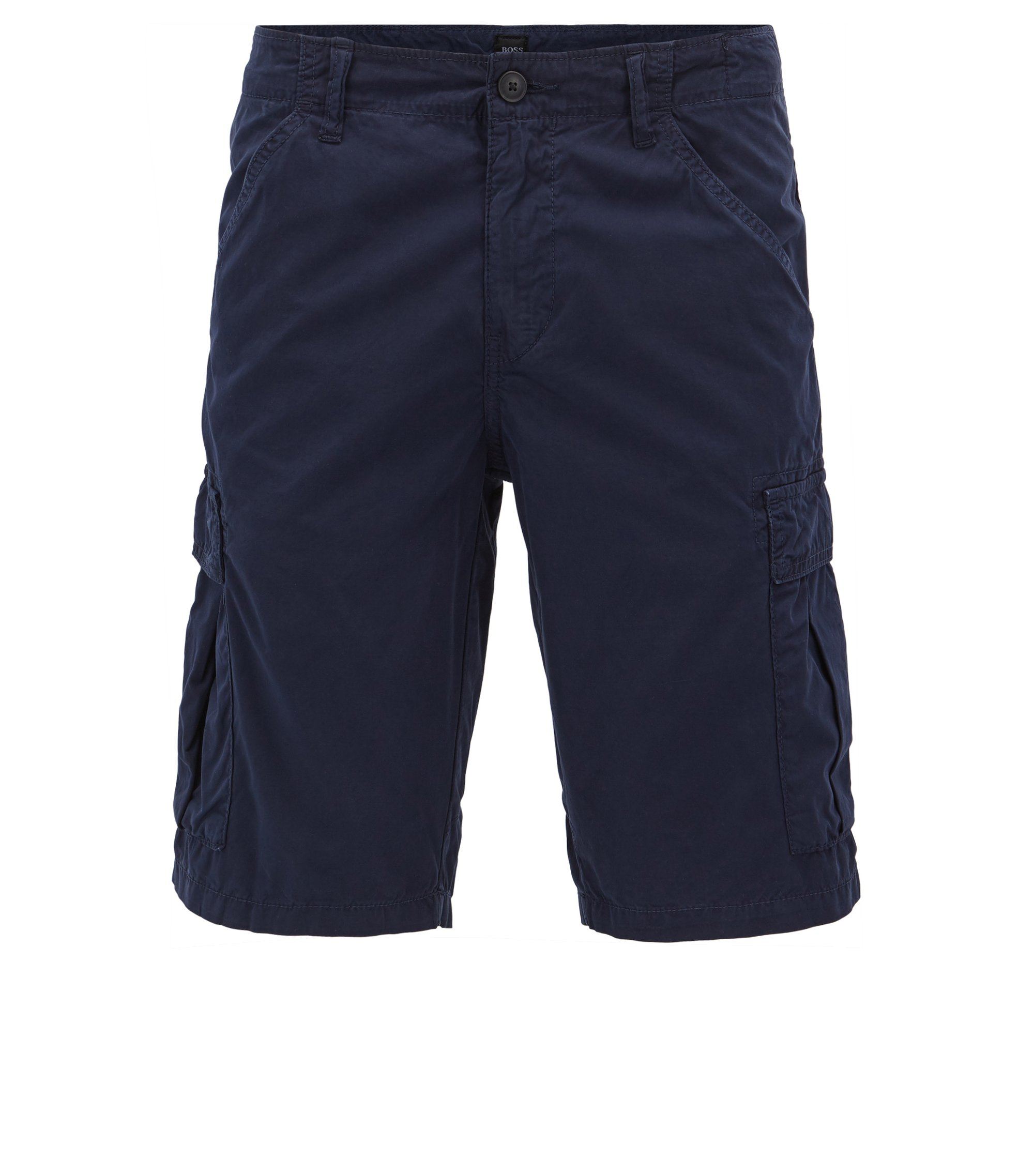 Tapered-leg shorts in double-dyed cotton poplin, Dark Blue
