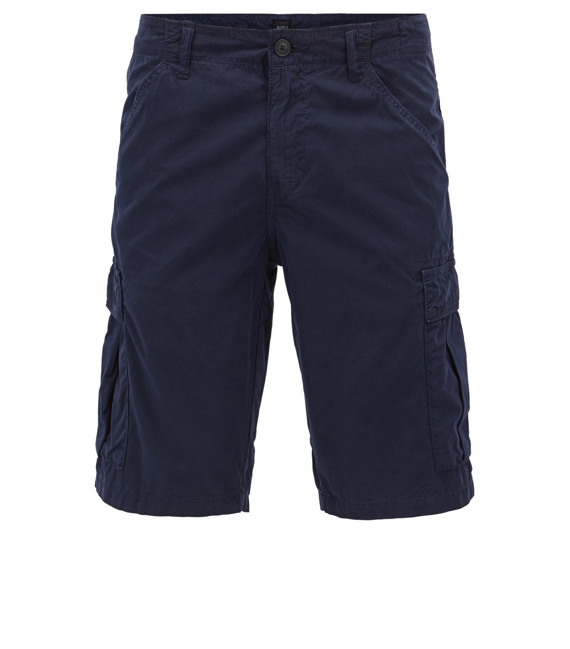 Tapered-Fit Shorts aus zweifach gefärbter Baumwoll-Popeline, Dunkelblau