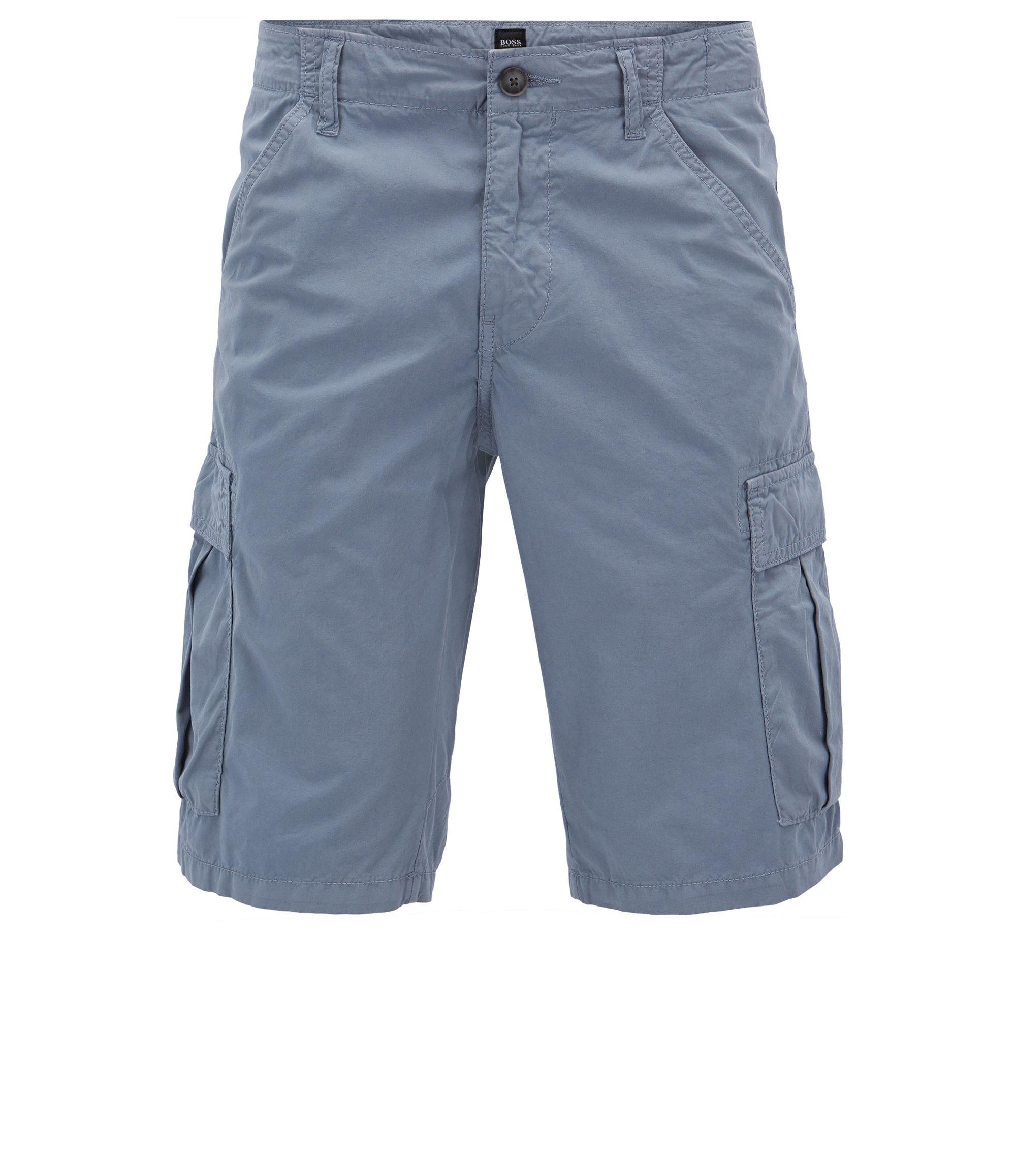 Short met smal toelopende pijpen in dubbelgeverfde katoenen popeline, Blauw