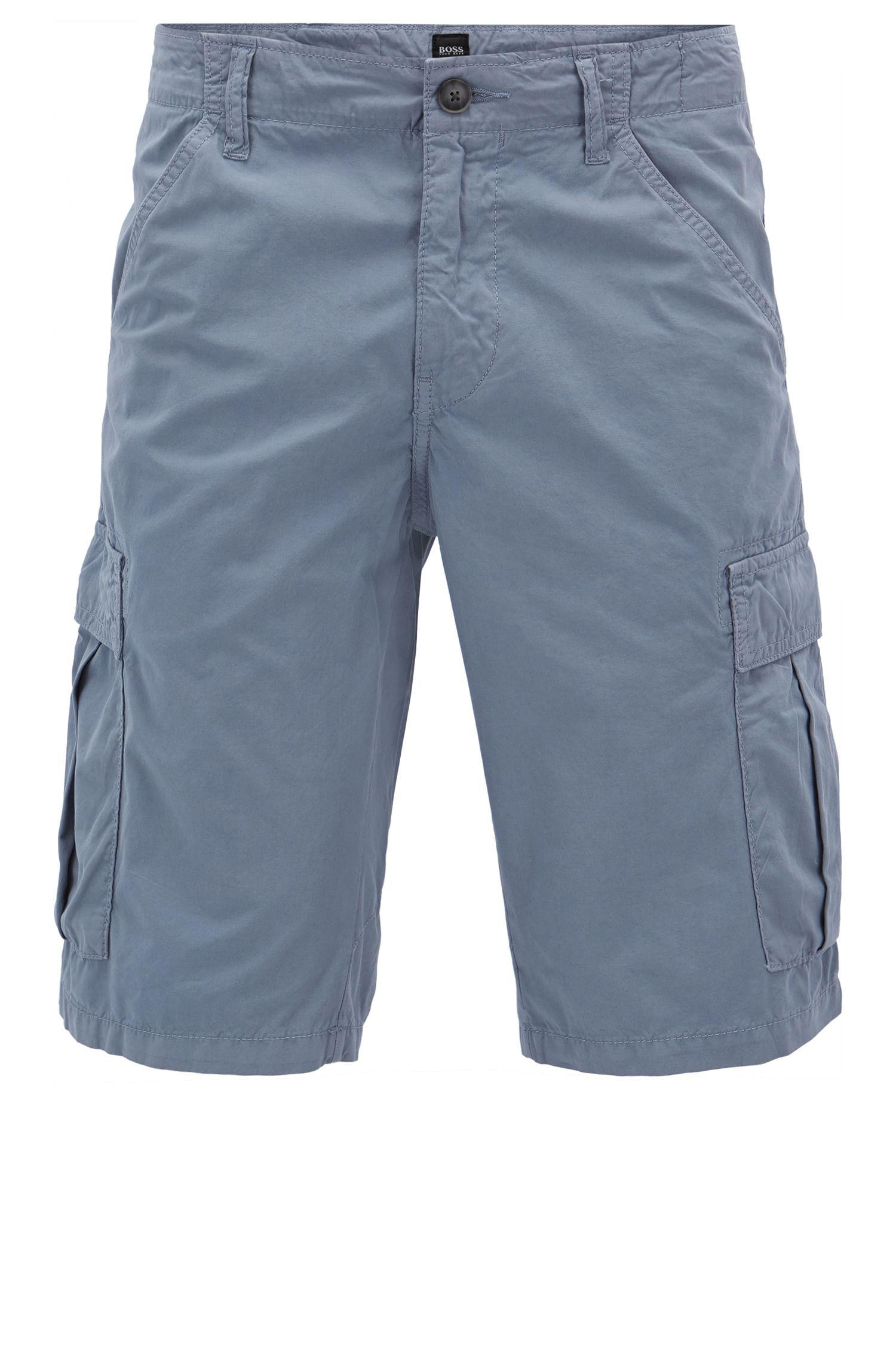 Shorts con pernera cónica en popelín de algodón con teñido doble