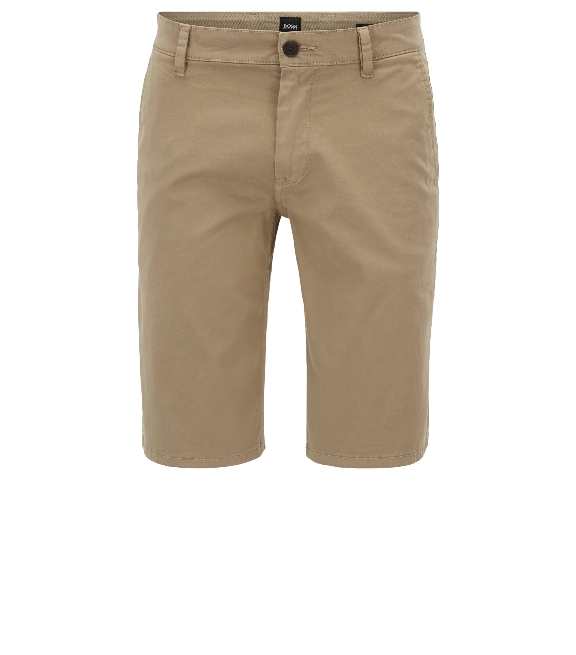 Regular-Fit Chino-Shorts aus elastischer Baumwolle, Beige