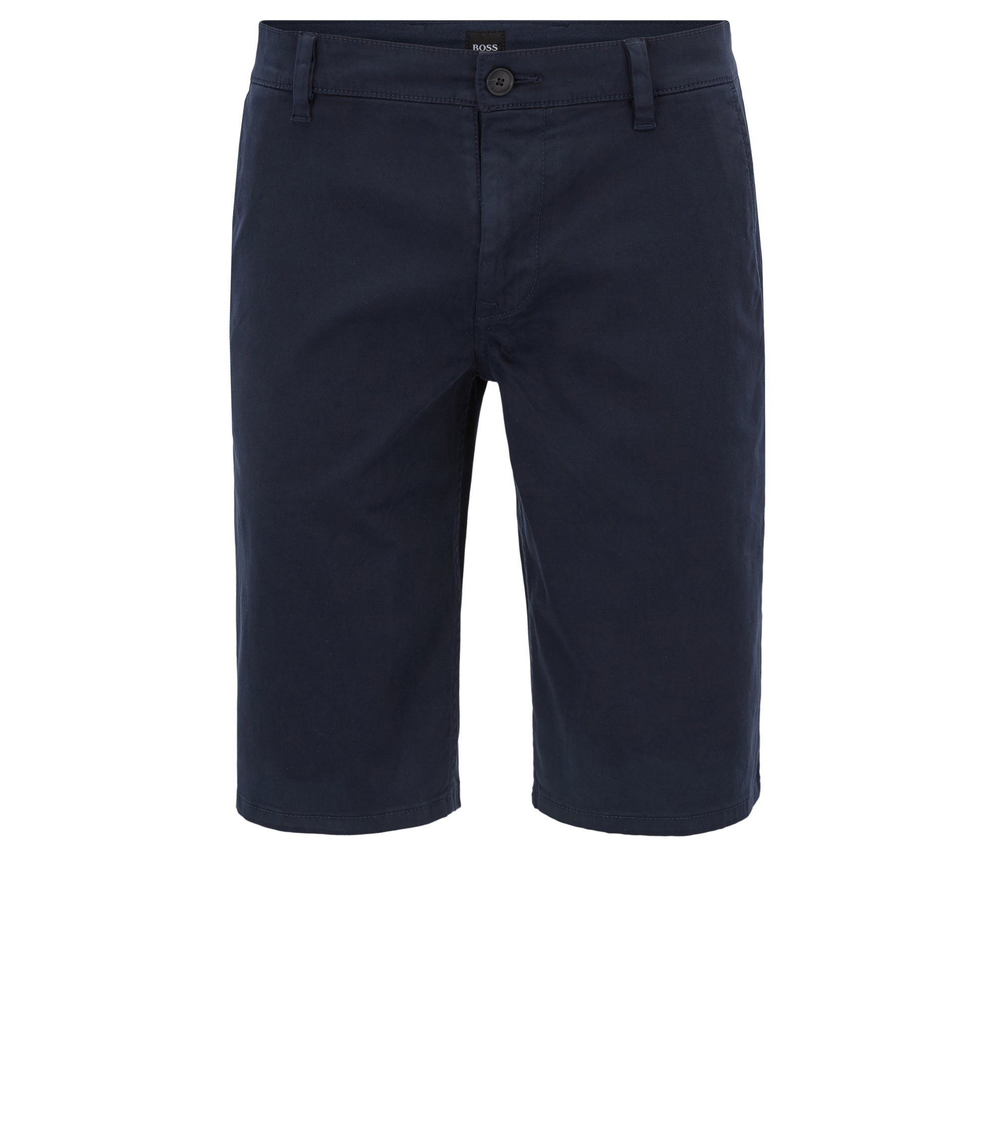 Chino shorts in stretch cotton, Dark Blue