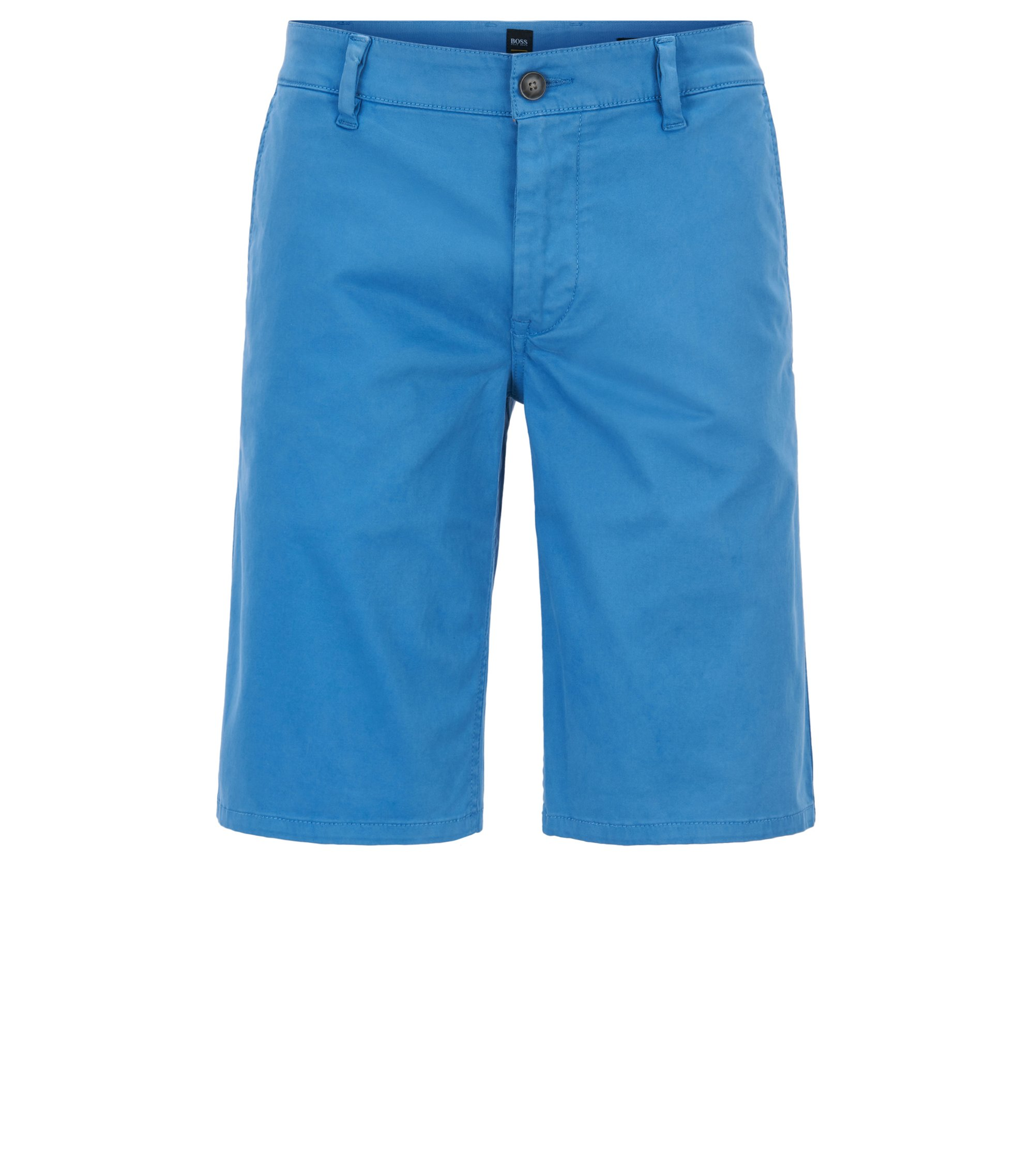 Short chino en coton stretch, Bleu