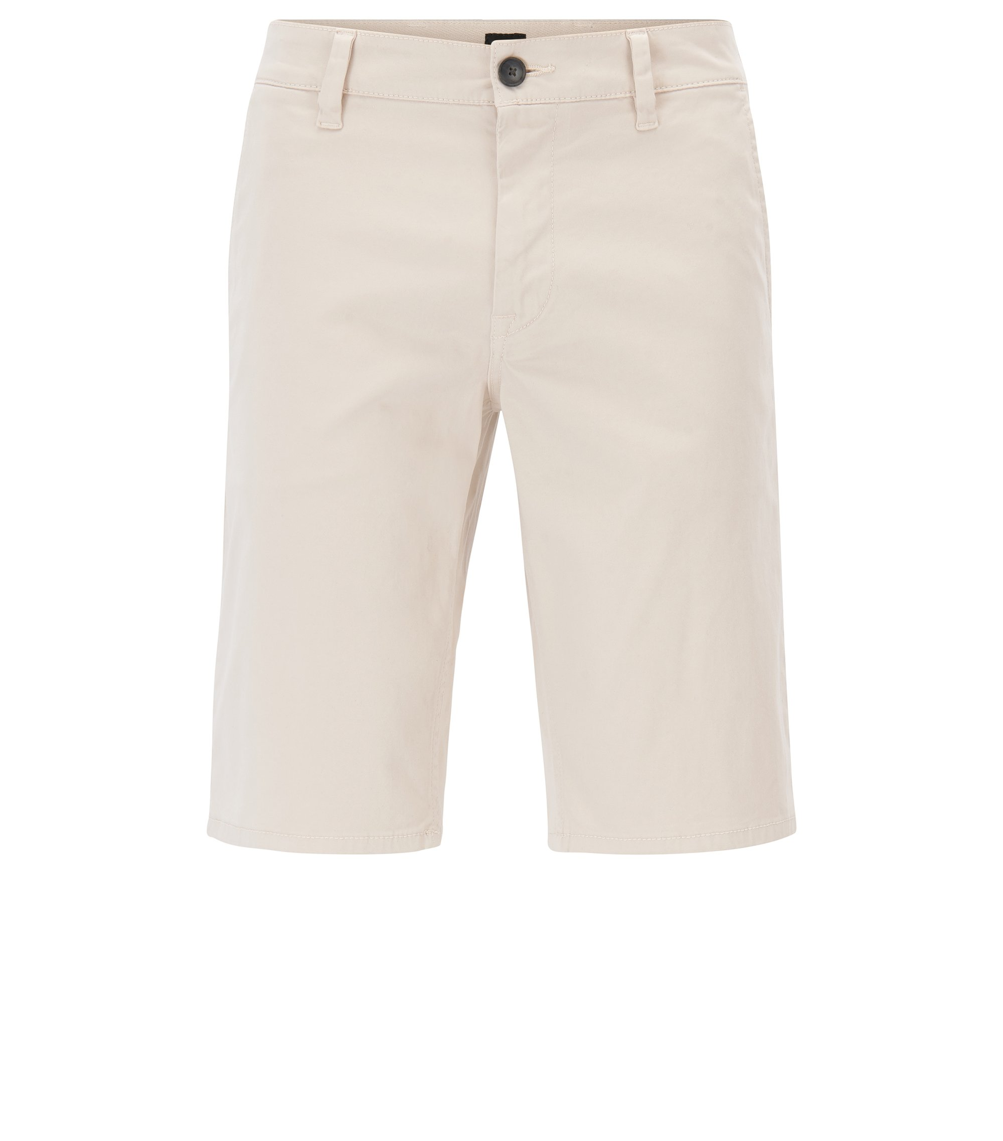 Stretch-cotton chino shorts with double belt loops, Natural