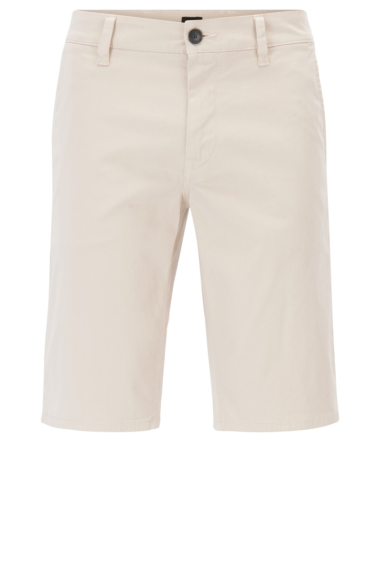 Short chino en coton stretch avec doubles passants