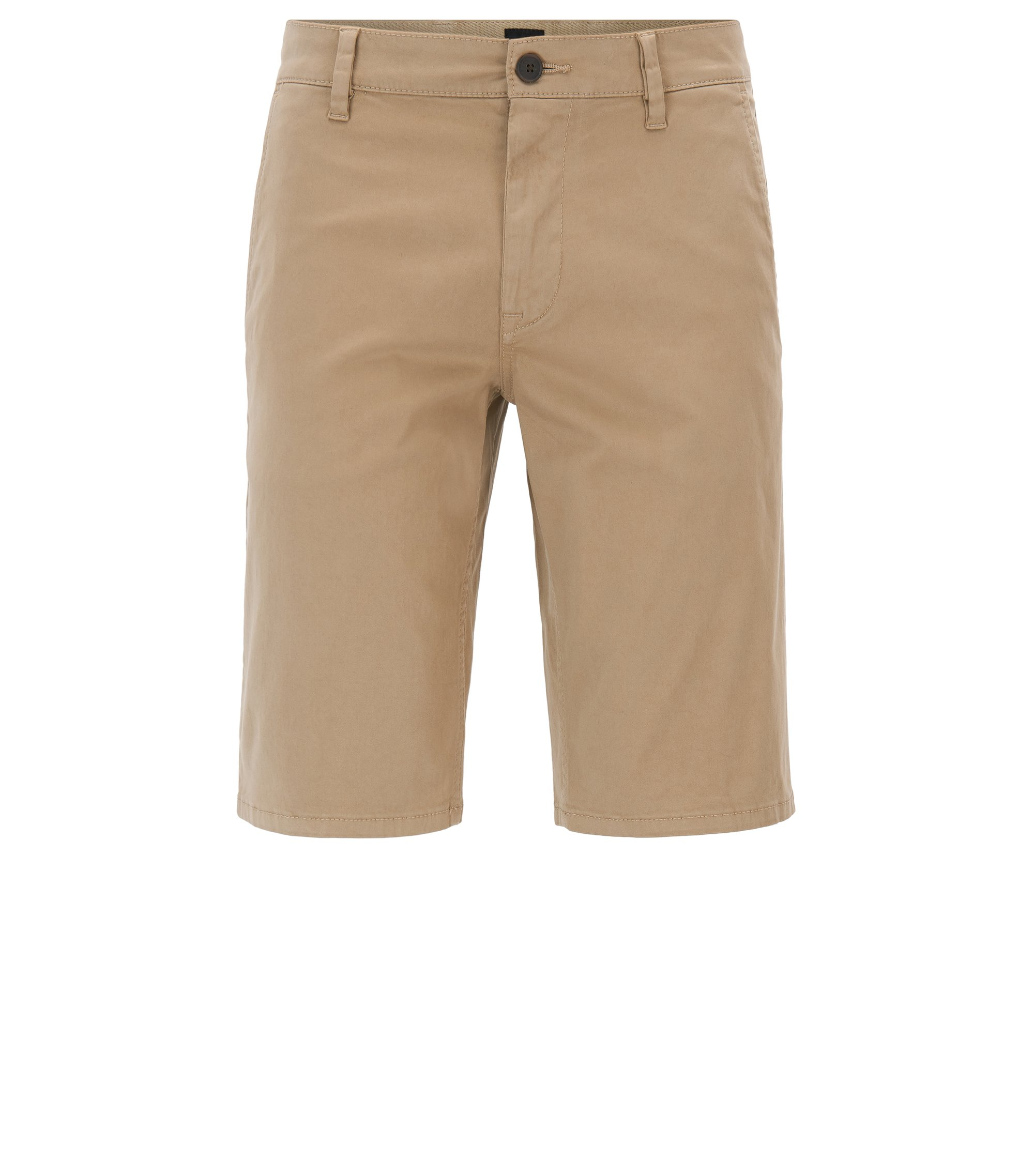 Short chino en coton stretch avec doubles passants, Beige