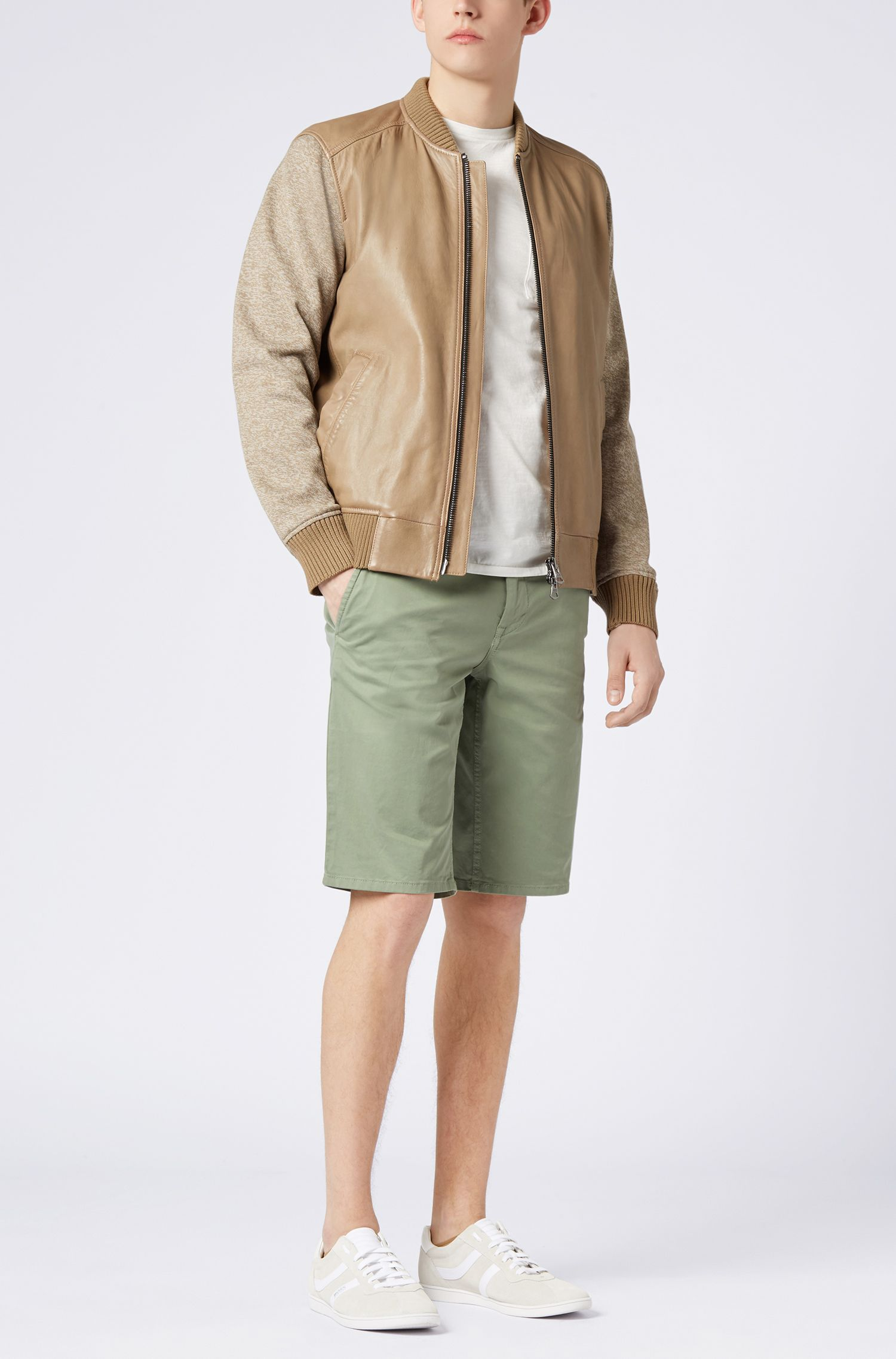 Stretch-cotton chino shorts with double belt loops
