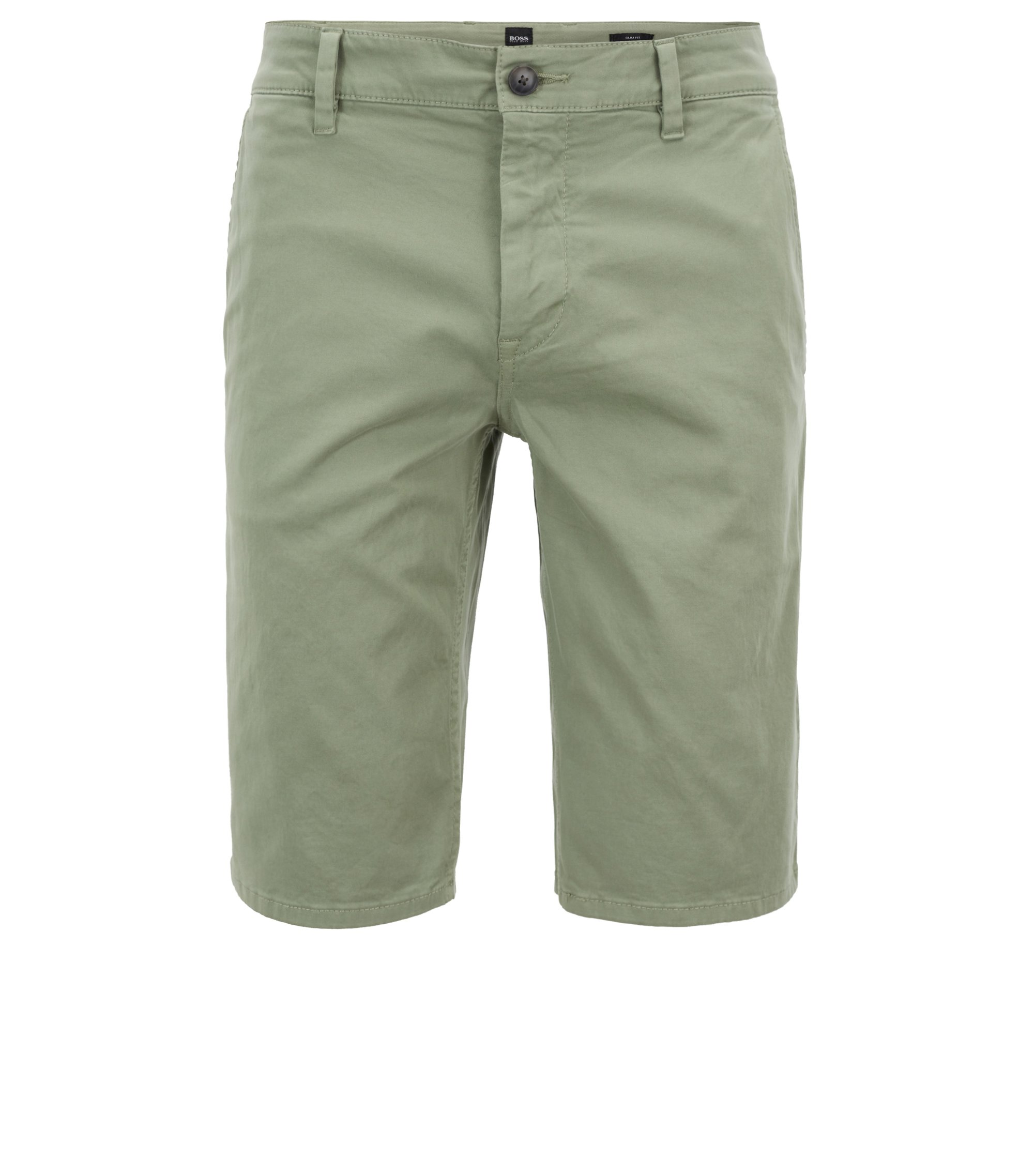 Stretch-cotton chino shorts with double belt loops, Light Green