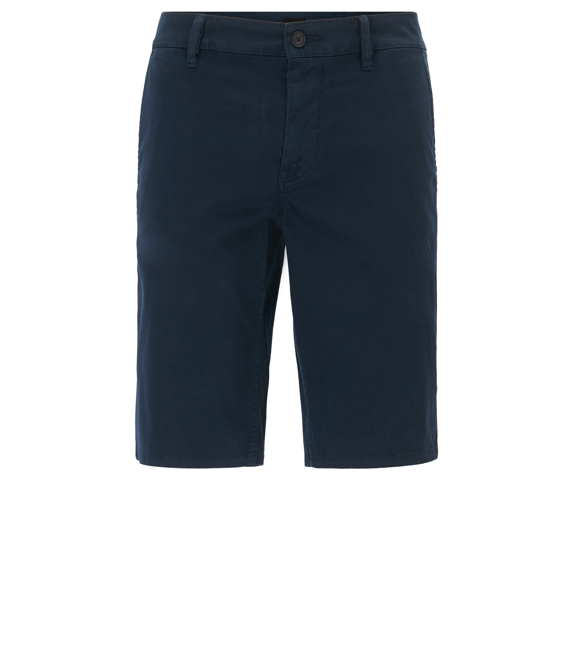 Stretch-cotton chino shorts with double belt loops, Dark Blue
