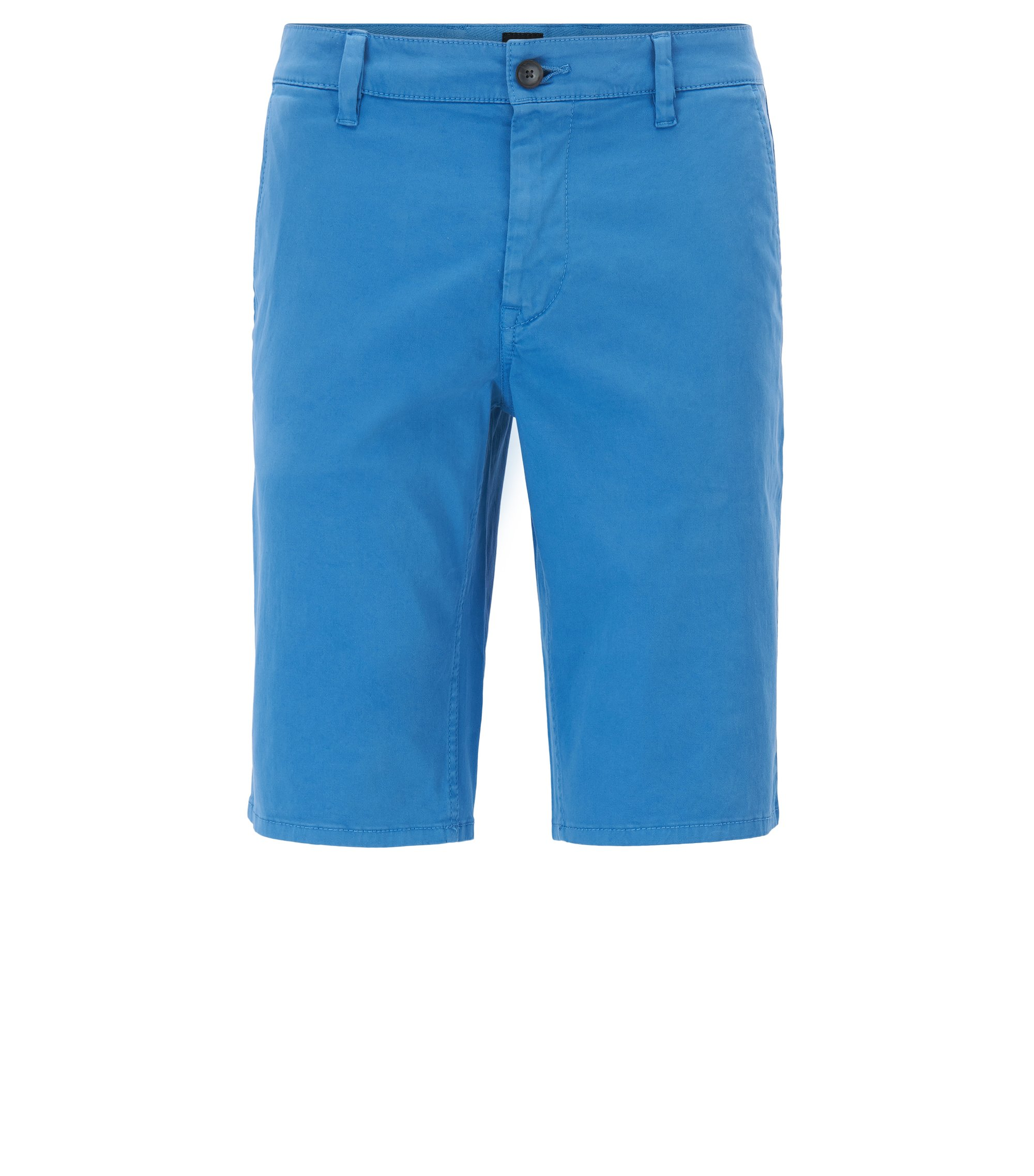 Short chino en coton stretch avec doubles passants, Bleu