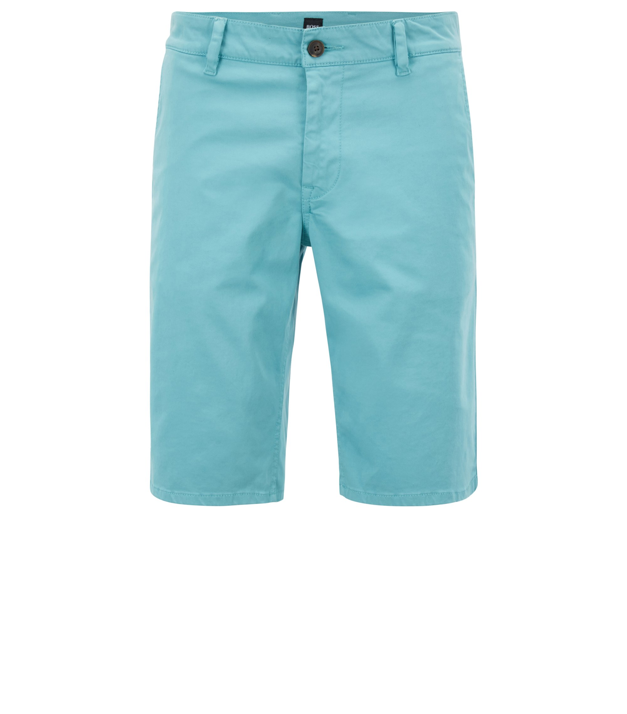 Stretch-cotton chino shorts with double belt loops, Turquoise