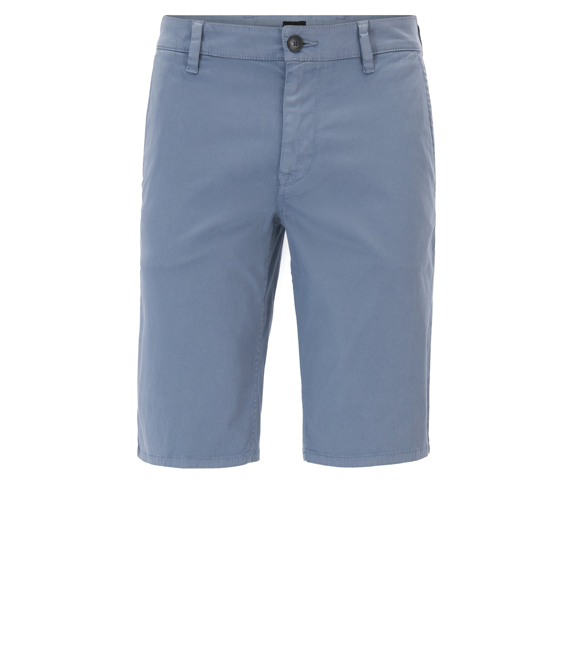 Stretch-cotton chino shorts with double belt loops, Blue