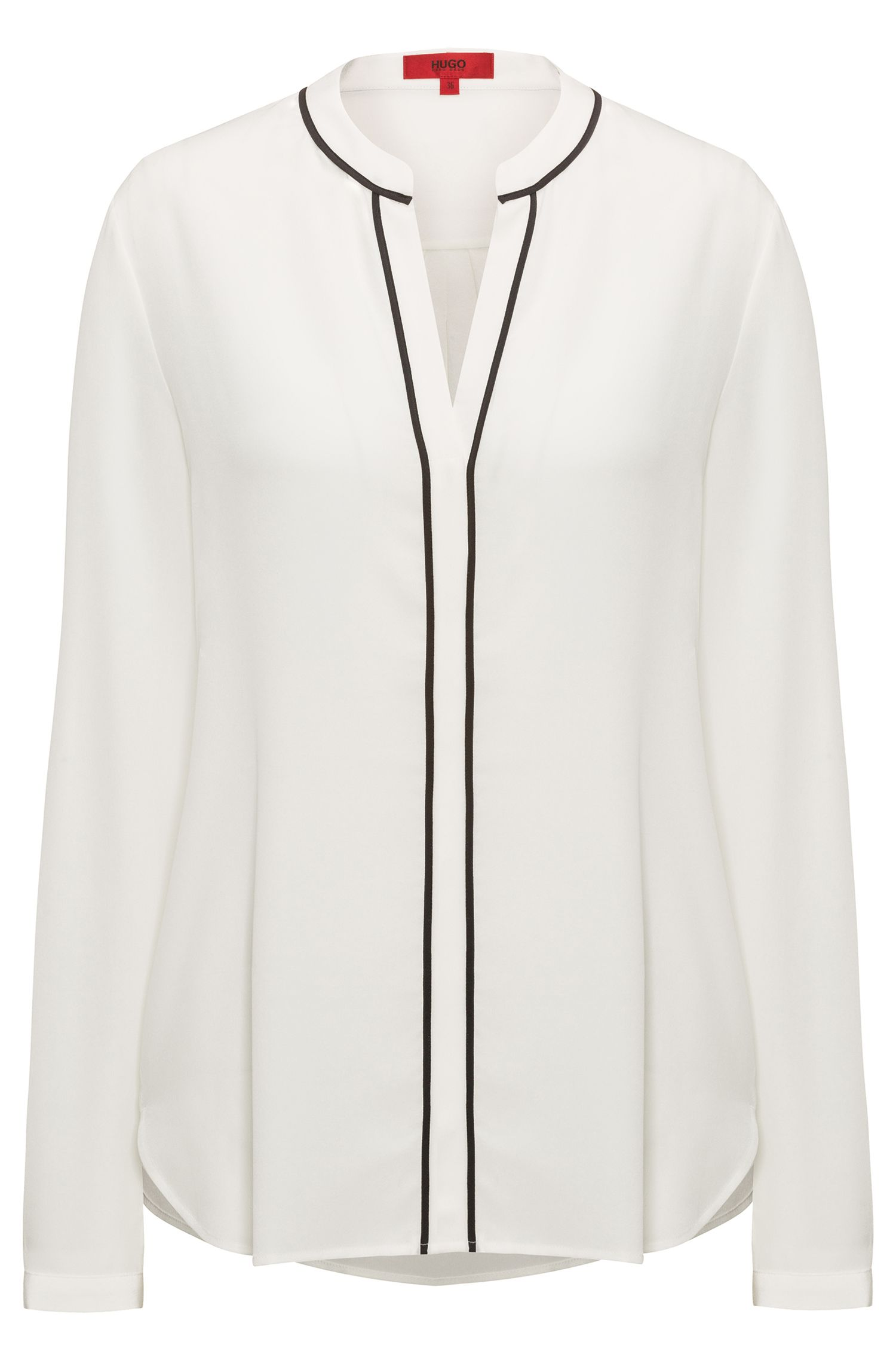 Open-neck silk blouse in a relaxed fit