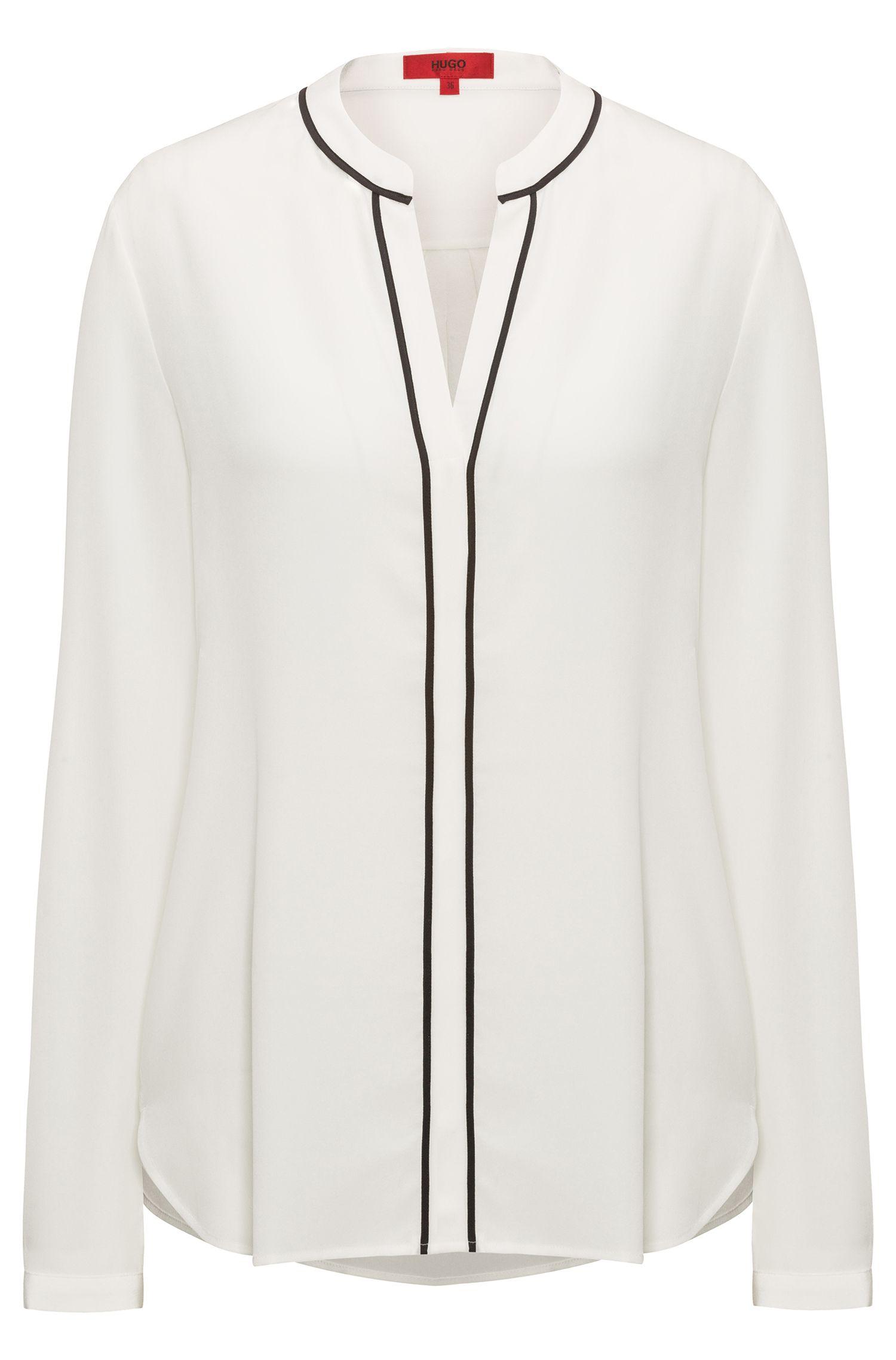 Relaxed-Fit Seiden-Bluse mit V-Ausschnitt