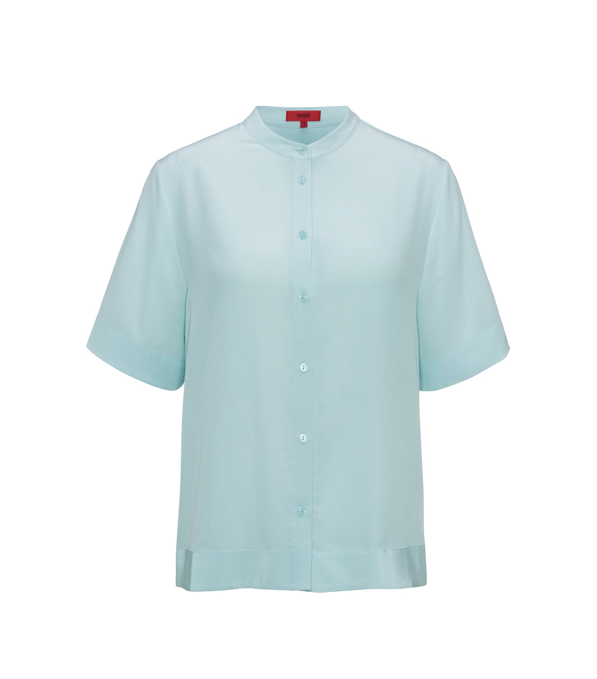 Short-sleeved silk shirt in a relaxed fit, Light Blue