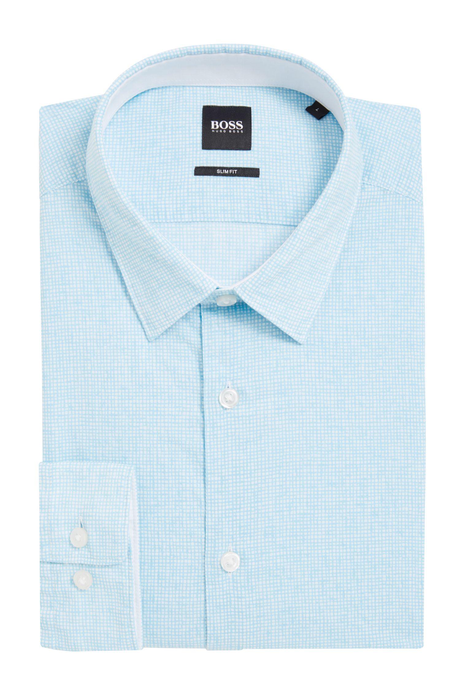 Camicia slim fit in voile di cotone stampato