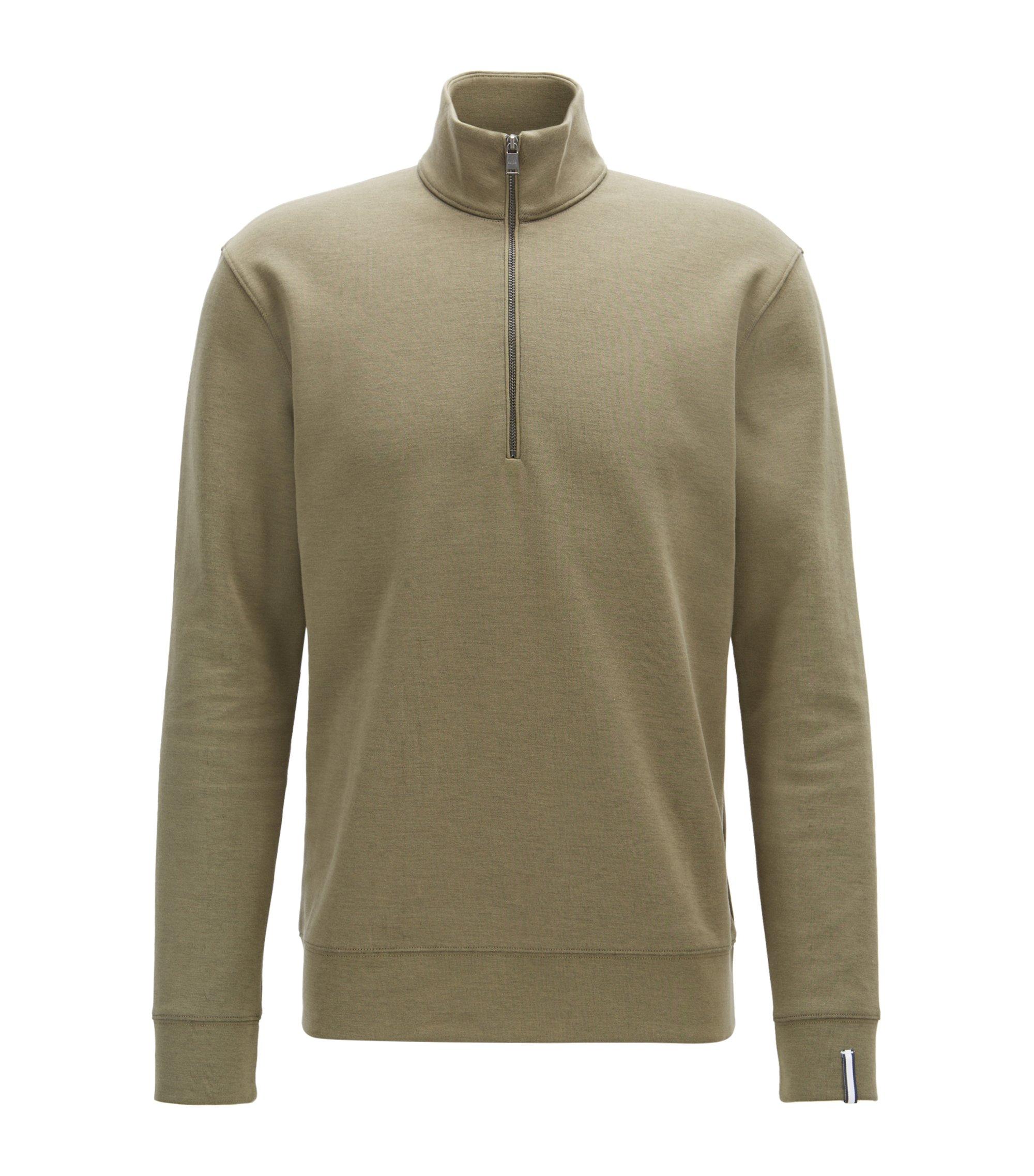 Zip-neck sweatshirt in a double-face cotton blend, Open Green