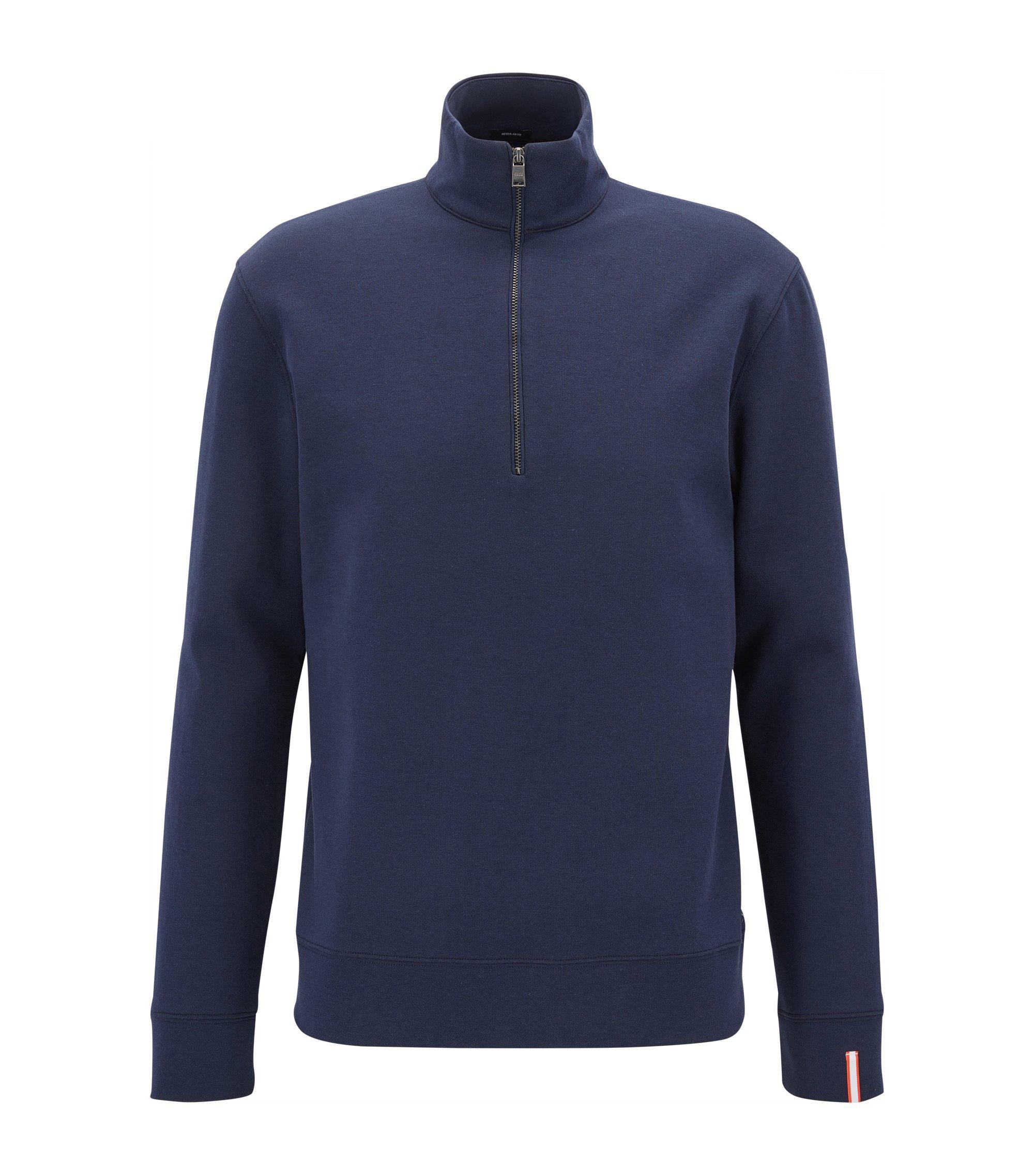 Sweatshirt van een dubbellaagse katoenmix met ritskraag, Donkerblauw