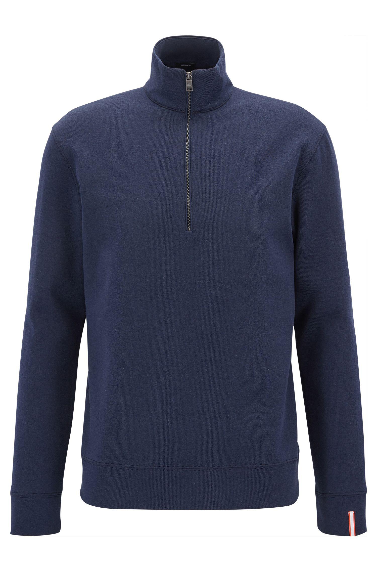 Zip-neck sweatshirt in a double-face cotton blend