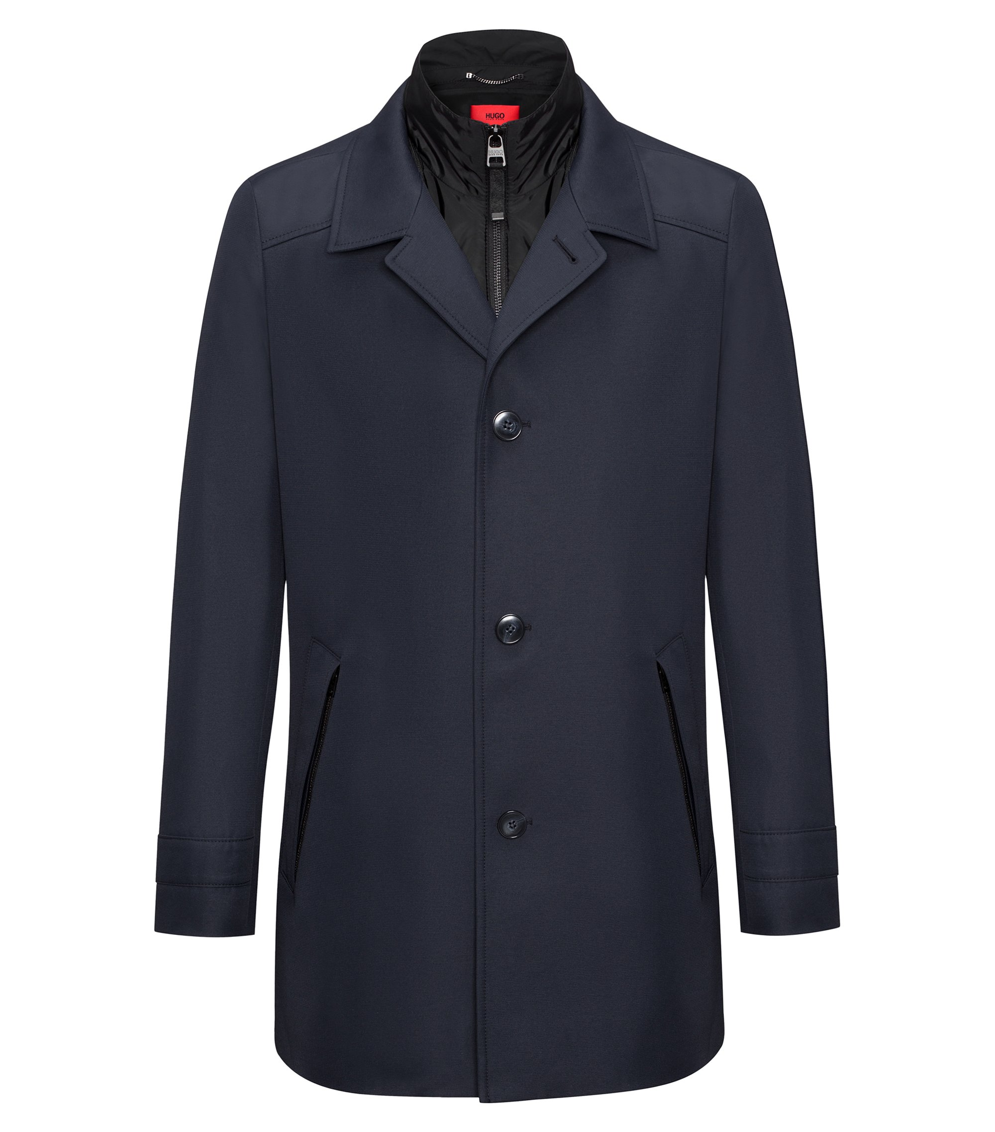 Slim-fit jacket in water-repellent technical fabric, Dark Blue