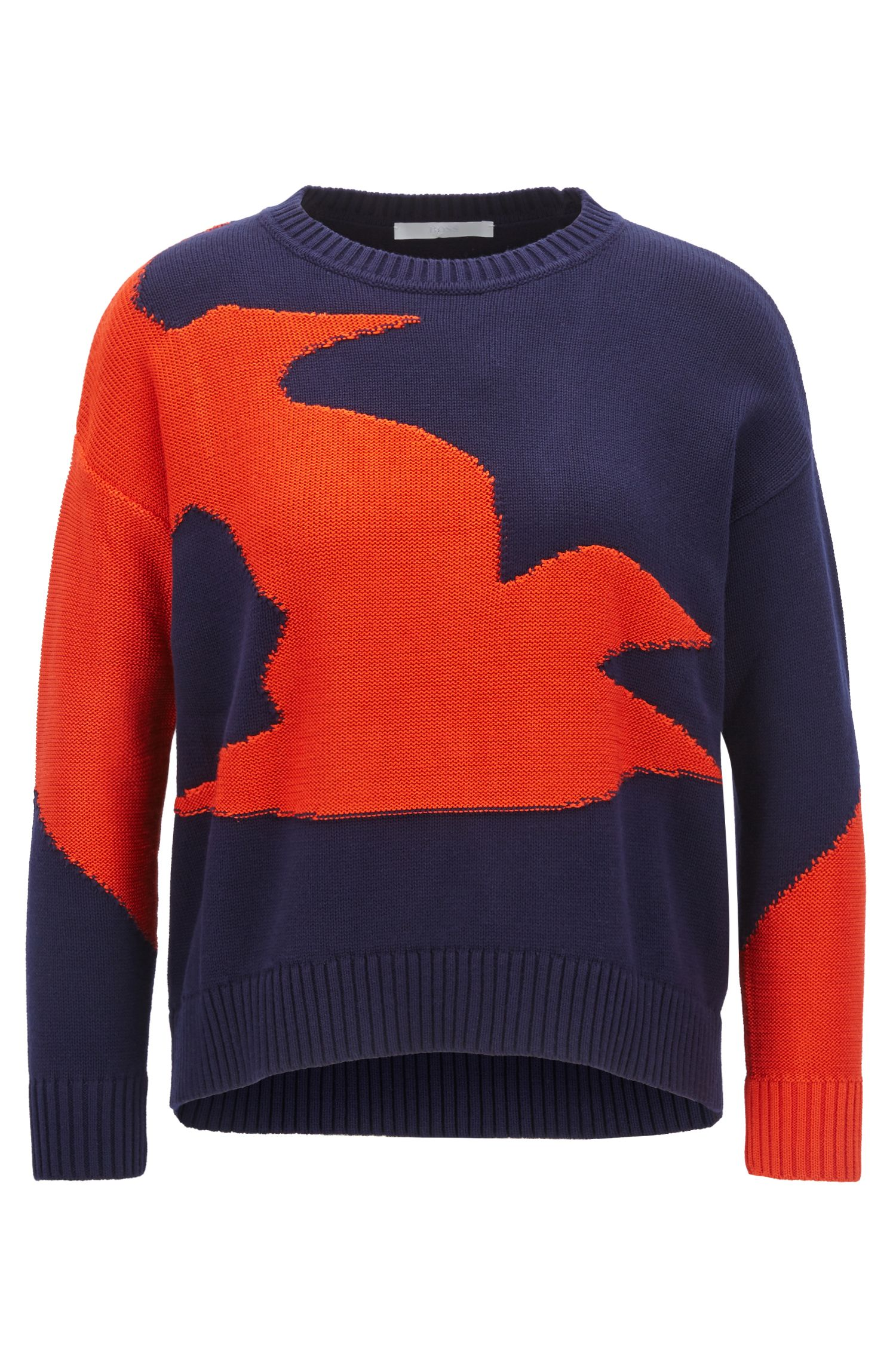 Cotton-blend sweater with seagull intarsia, Patterned