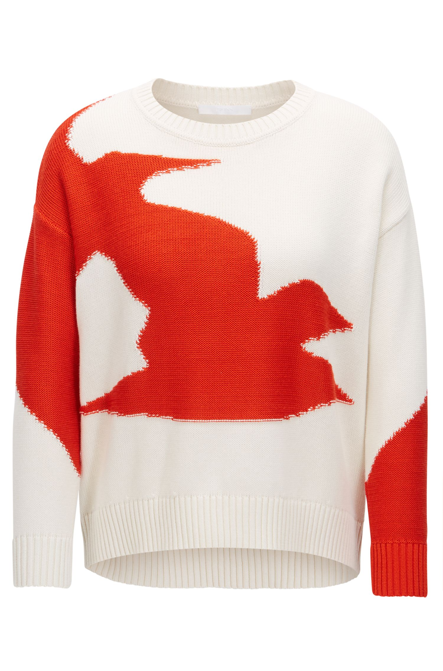 Cotton-blend sweater with seagull intarsia