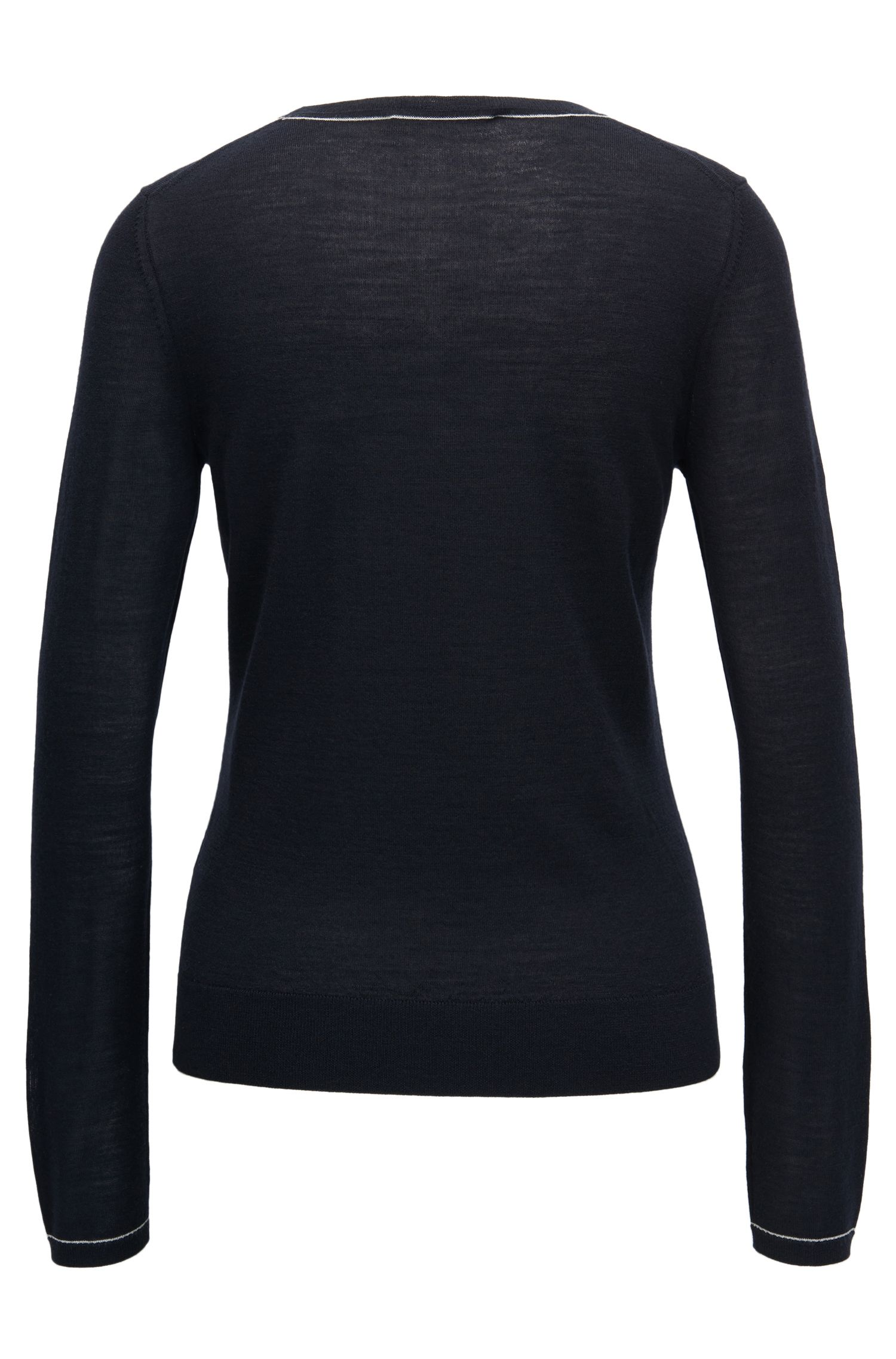 Crew-neck sweater in lightweight virgin wool