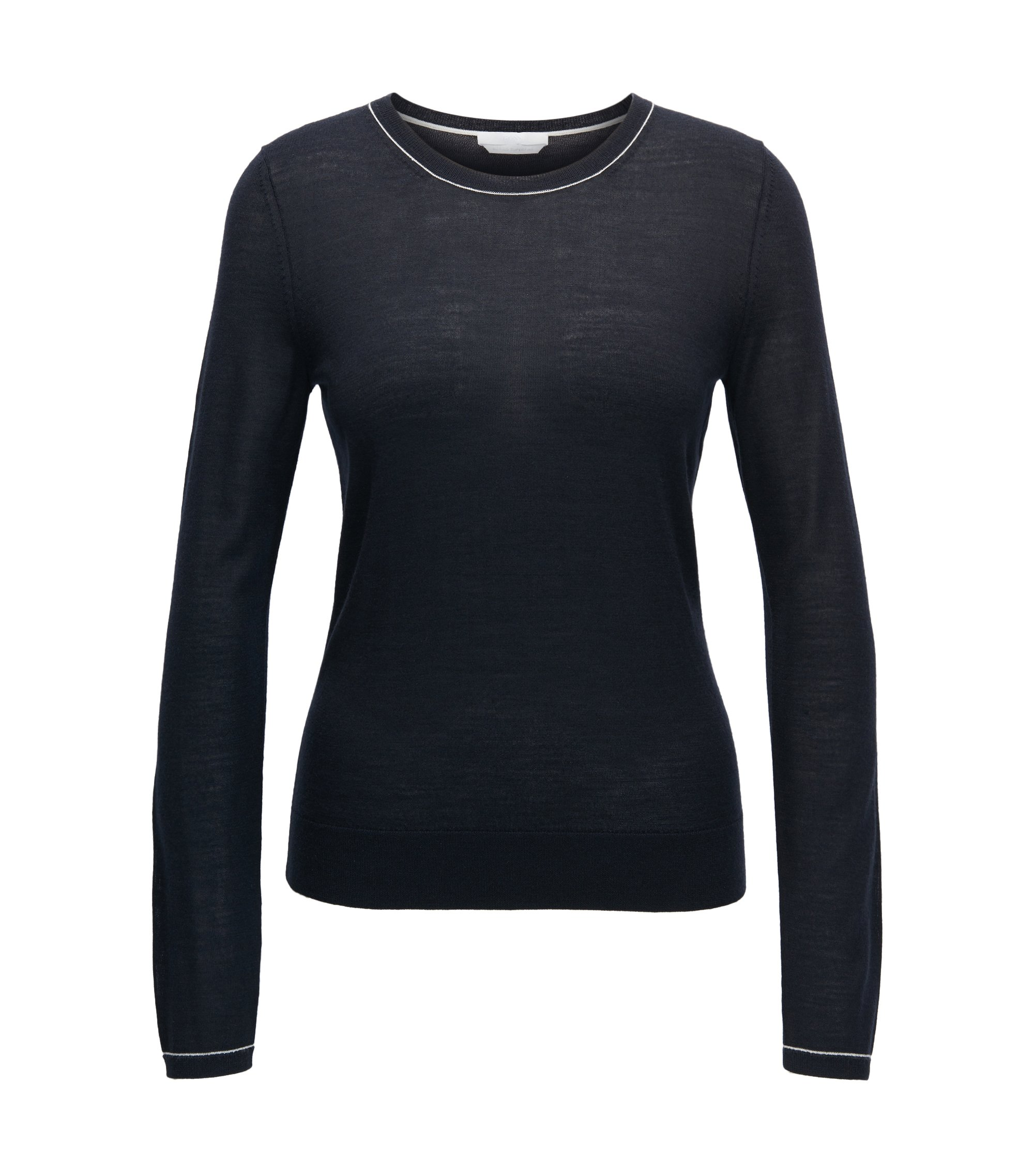 Crew-neck sweater in lightweight virgin wool, Dark Blue
