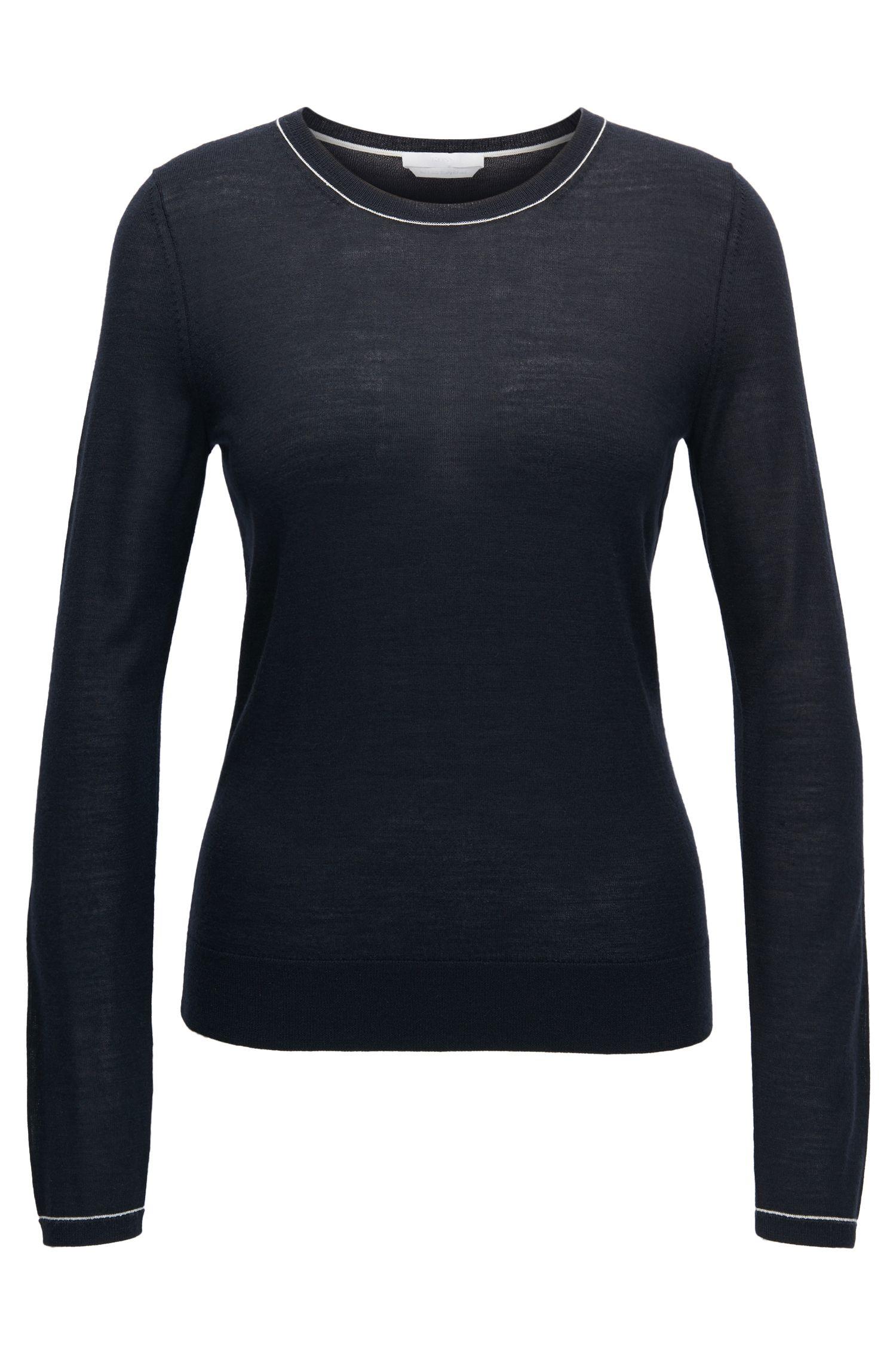 Jersey de cuello redondo en lana virgen ligera