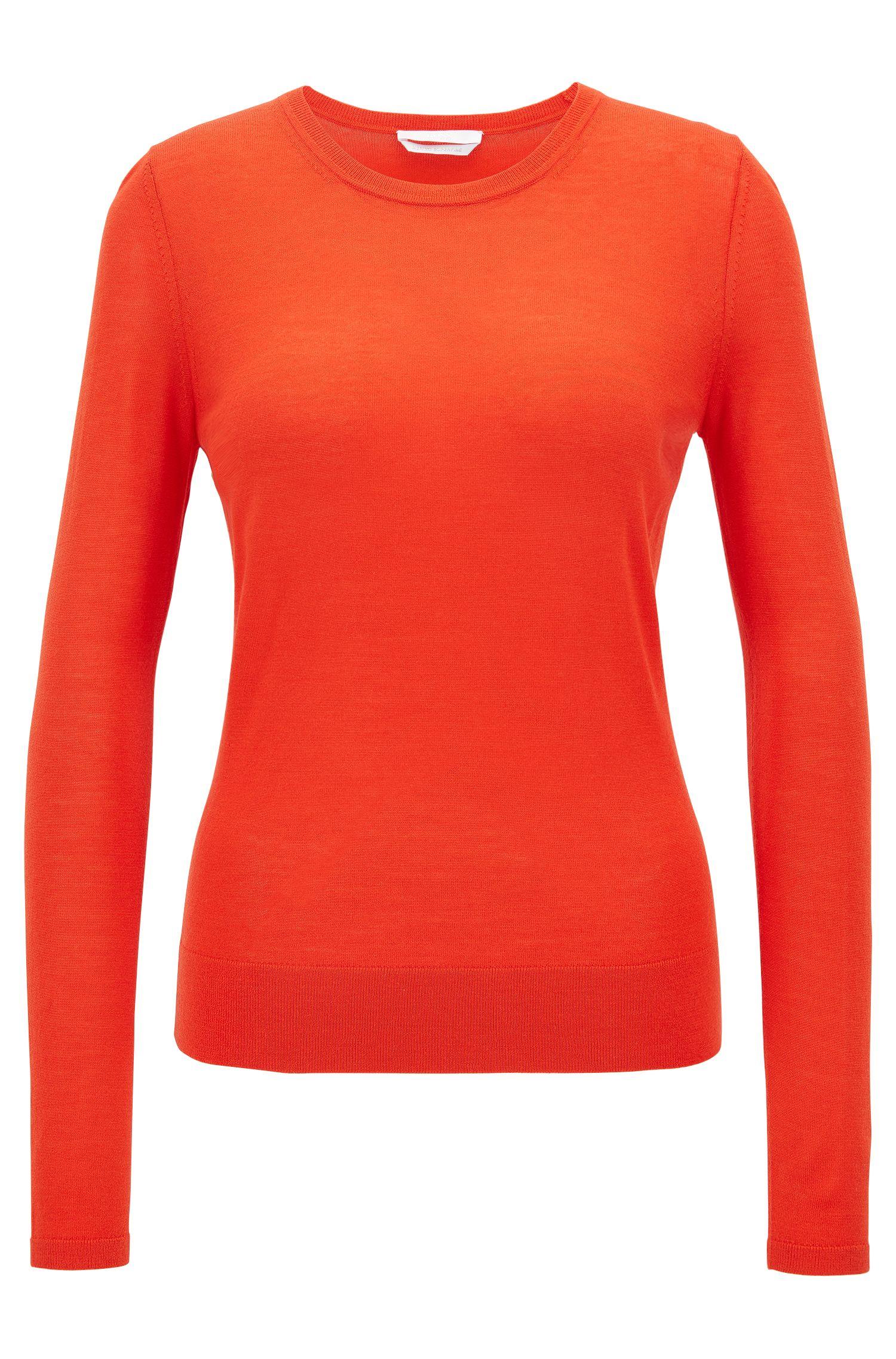 Crew-neck sweater in lightweight virgin wool