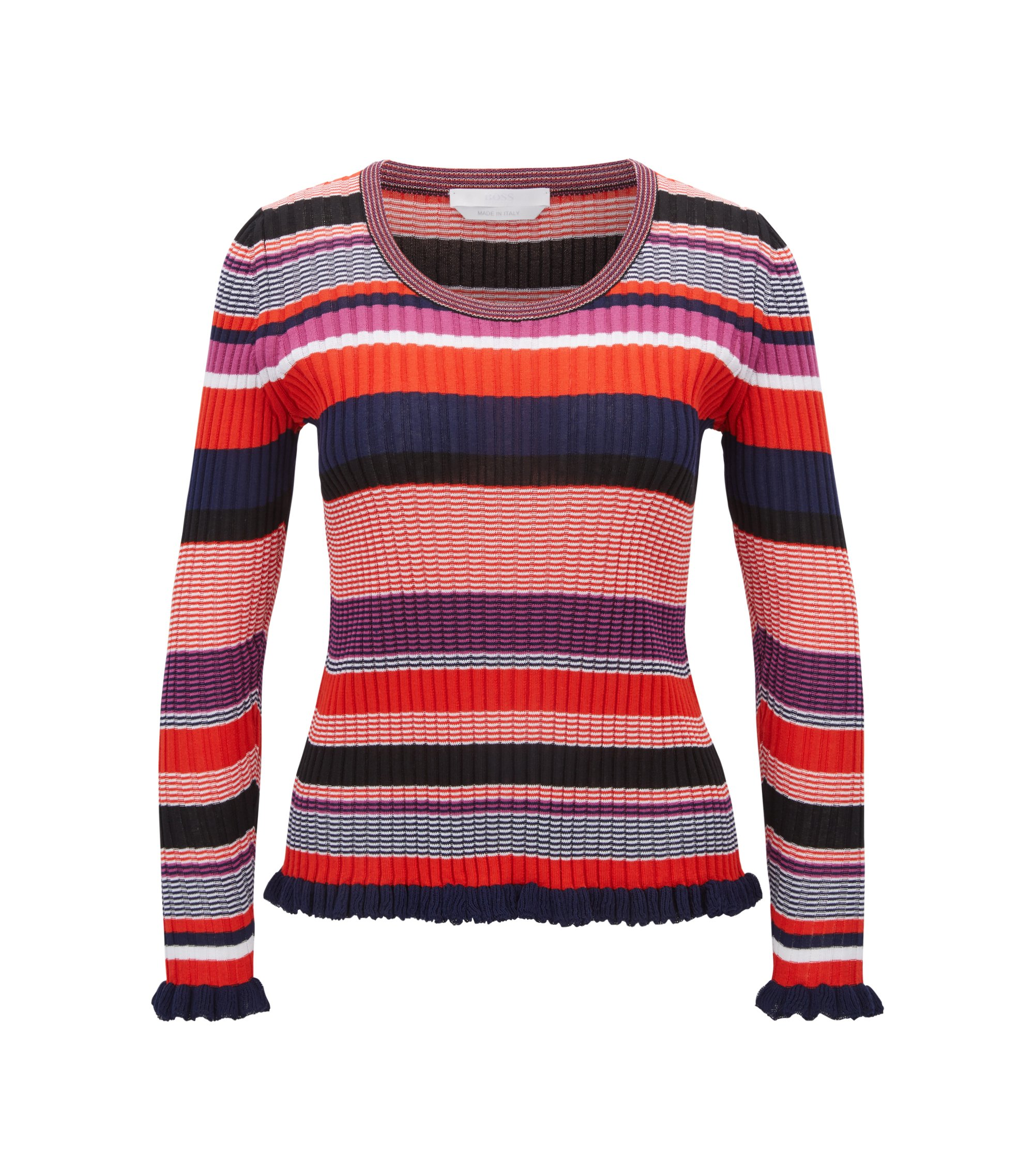 Striped sweater in a cotton blend, Patterned