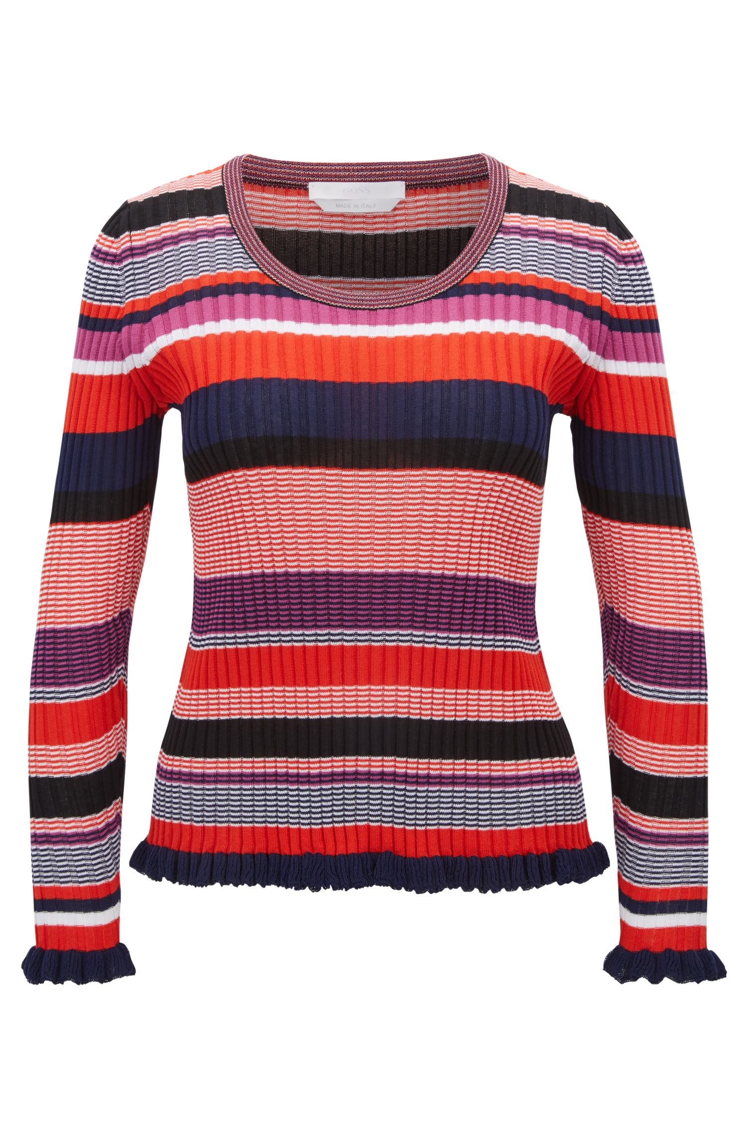 Striped sweater in a cotton blend