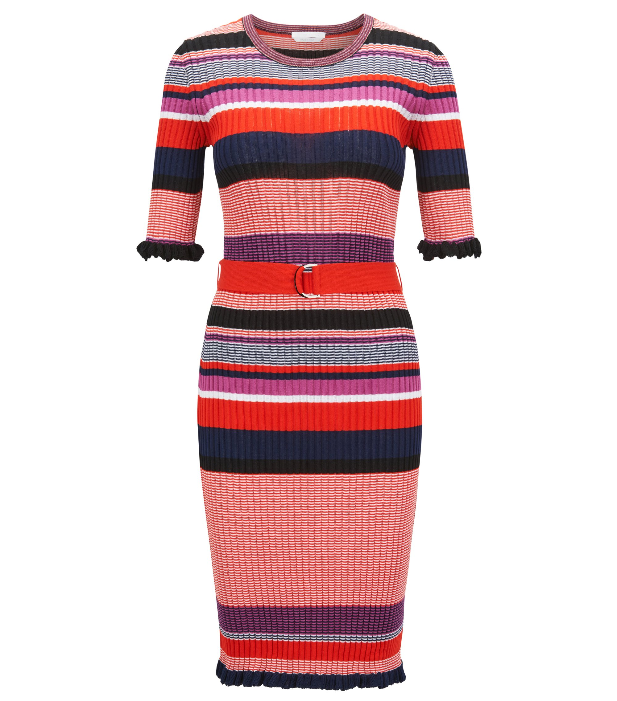 Striped dress in a ribbed cotton blend, Patterned