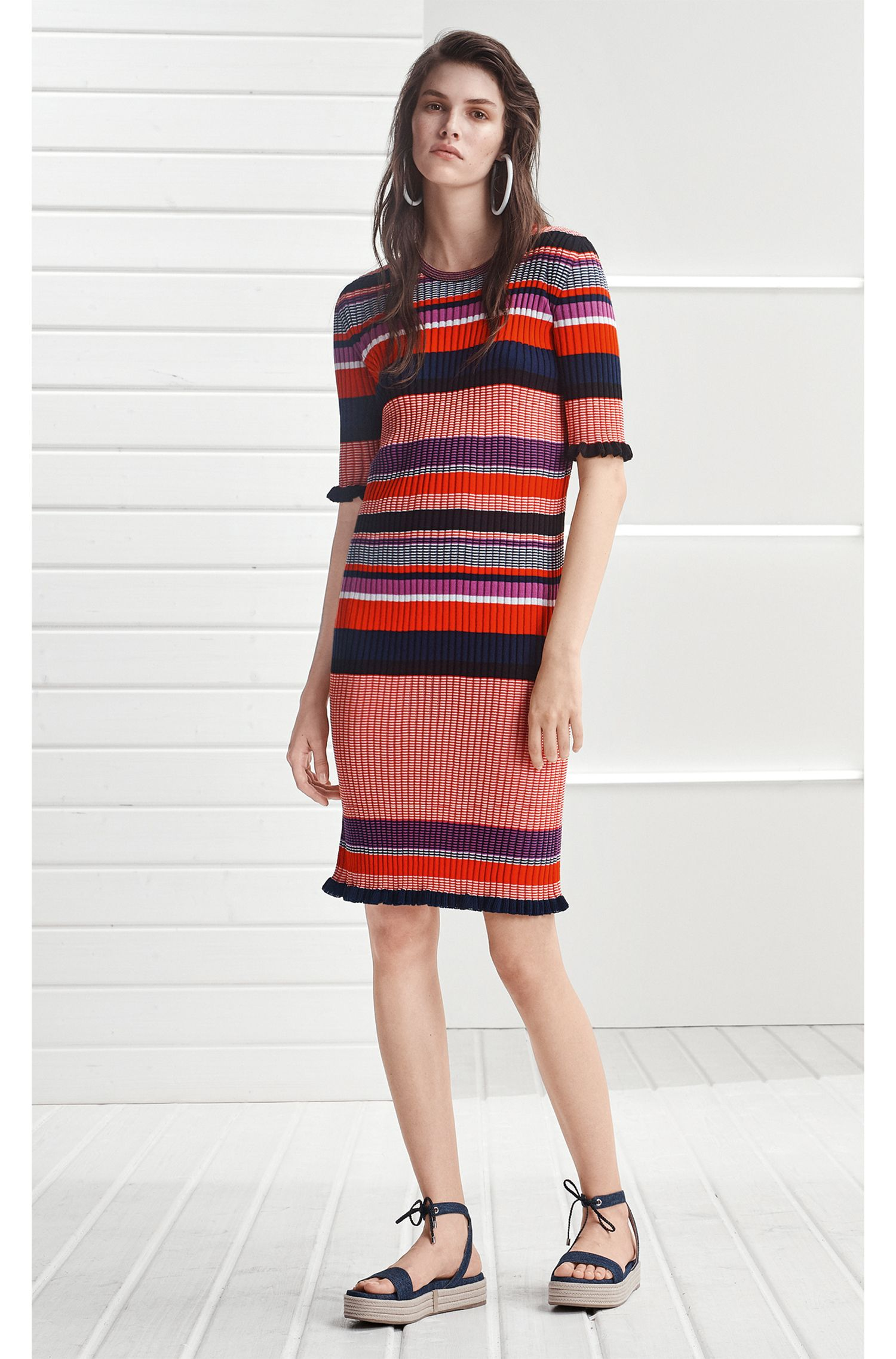 Striped dress in a ribbed cotton blend