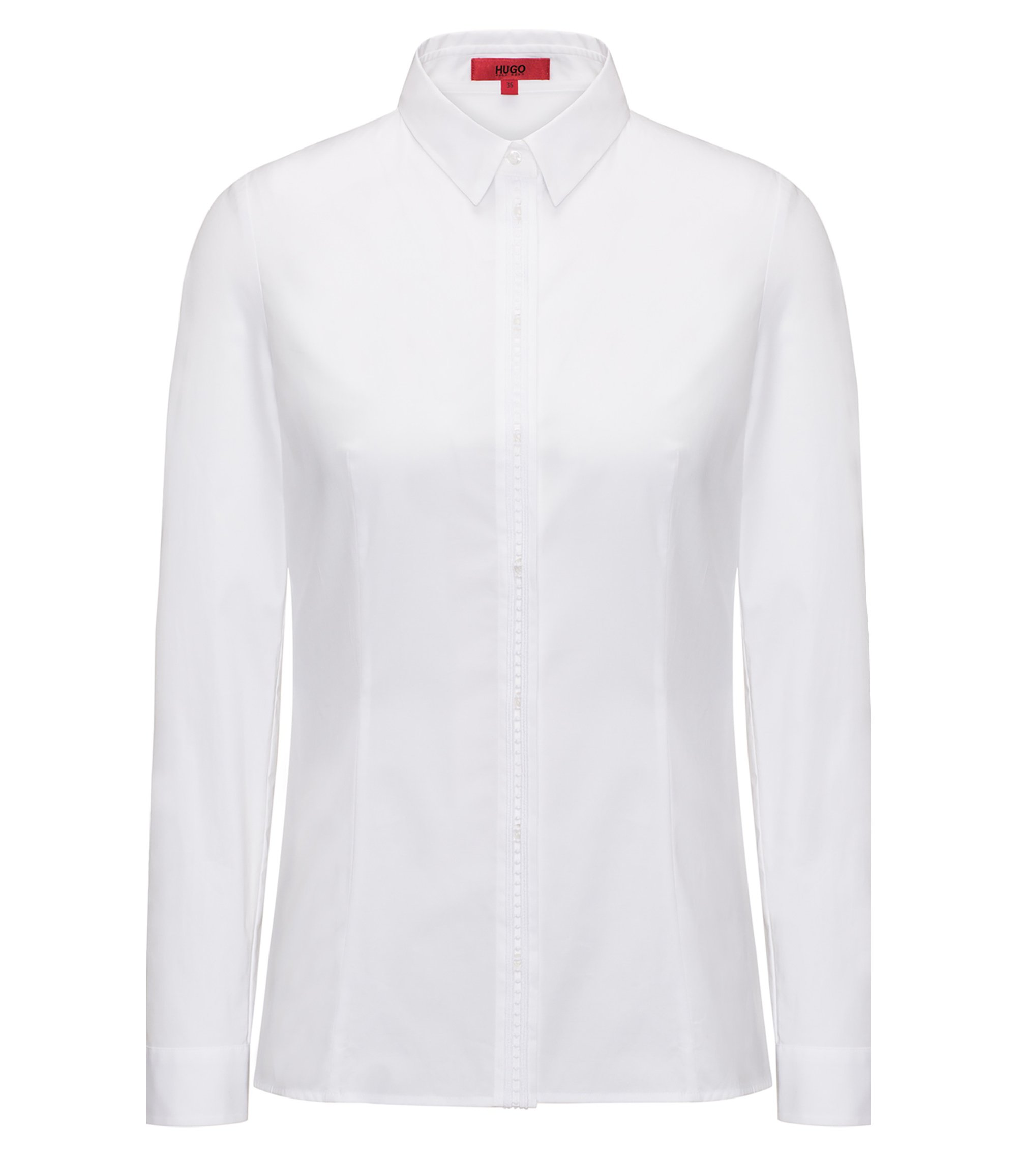 Stretch-cotton tailored blouse in a slim fit, White