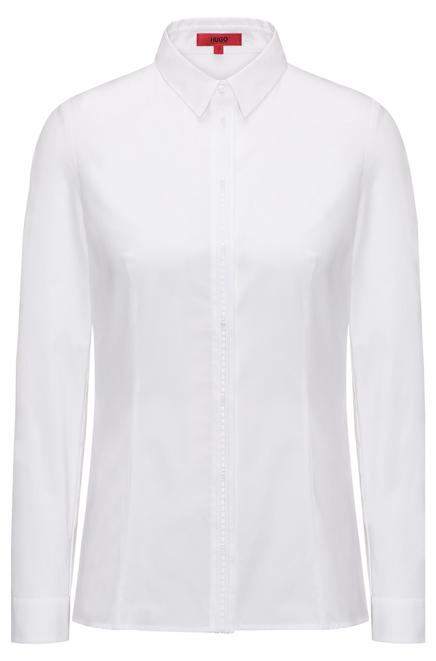 Slim-fit maatblouse van stretchkatoen