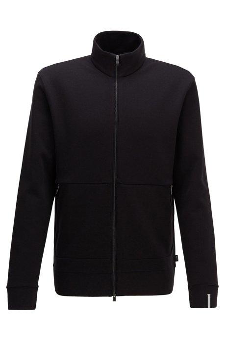 Sweater met ritssluiting en biesdetail aan de boord, Zwart