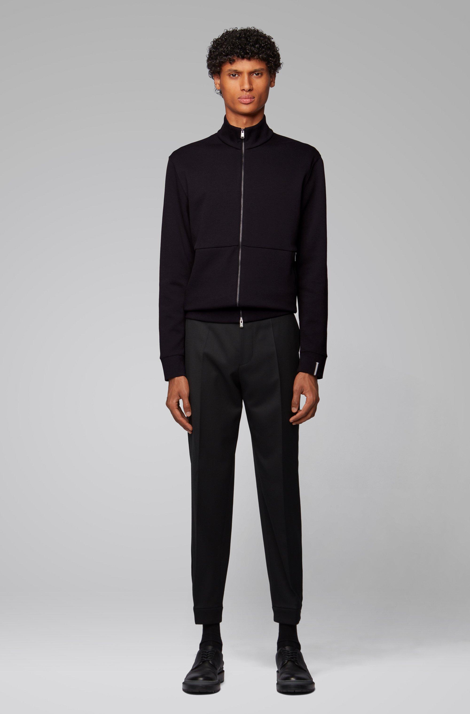 Zip-through sweatshirt with tape detail at cuff
