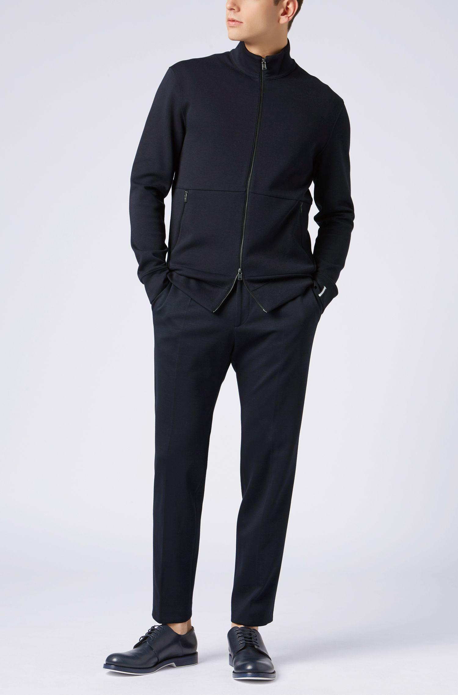 Sweatshirt aus zweiseitigem Baumwoll-Mix mit Reißverschluss, Dunkelblau