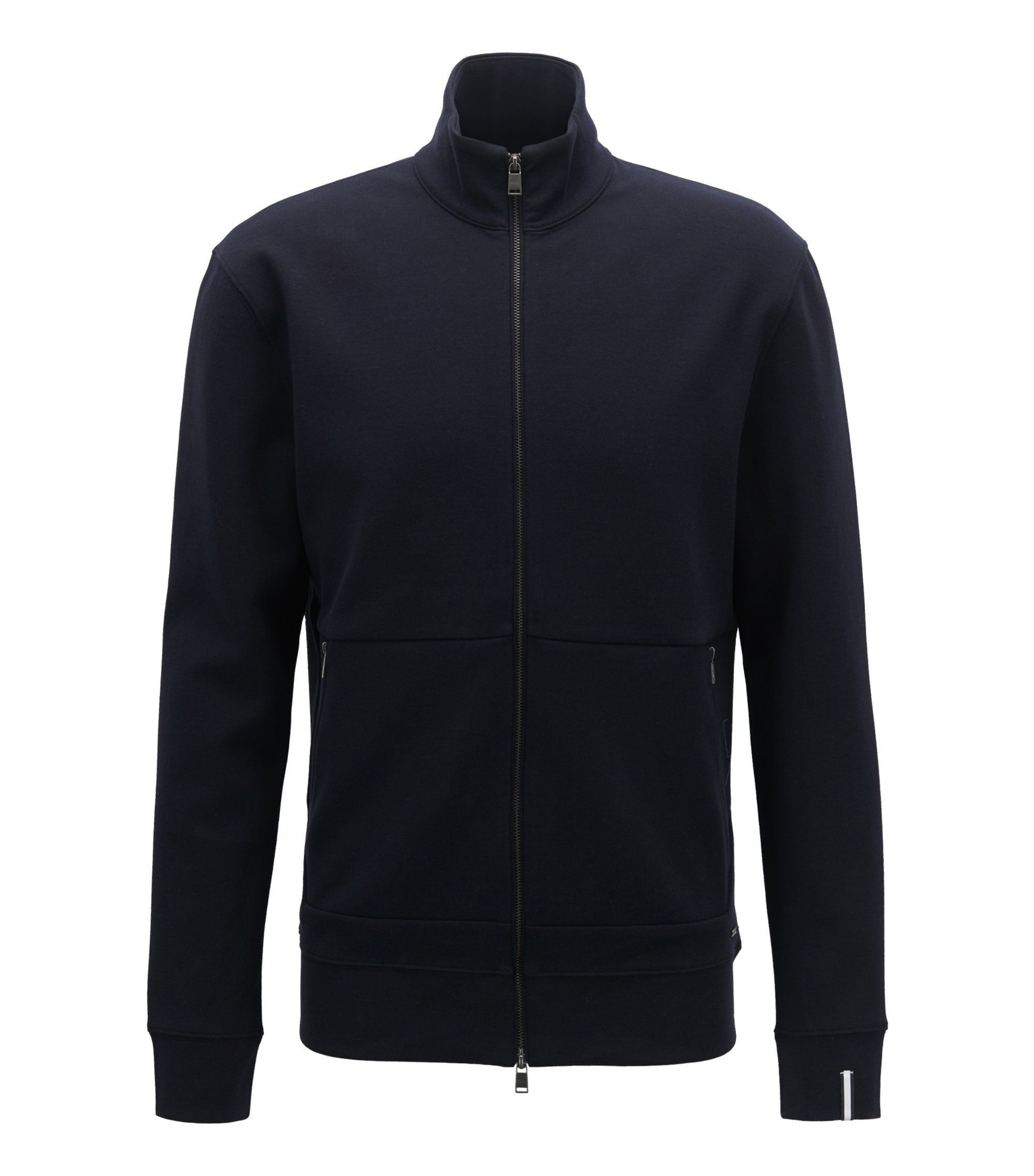 Zip-through sweatshirt in a double-face cotton blend, Dark Blue