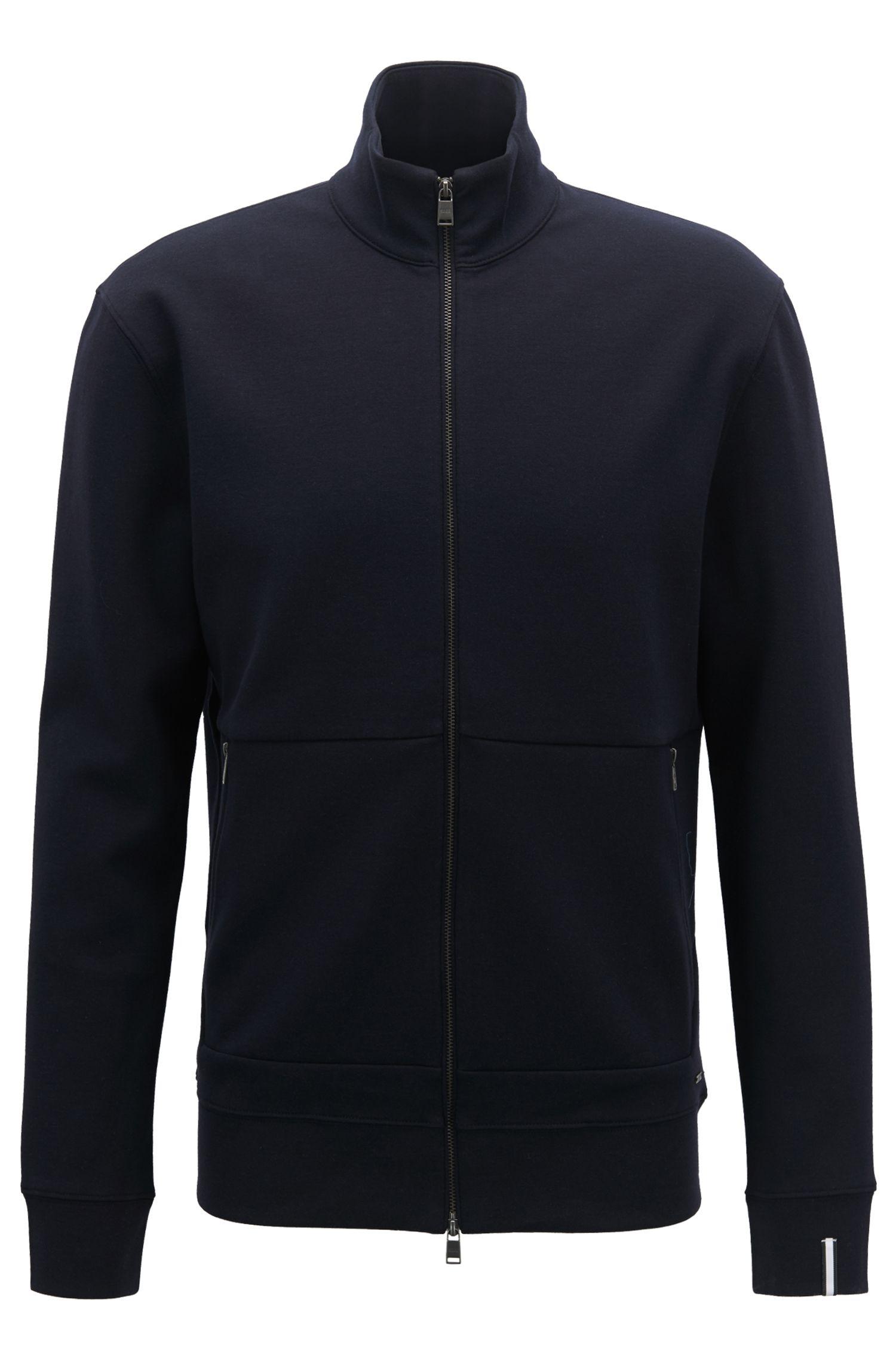 Zip-through sweatshirt in a double-face cotton blend