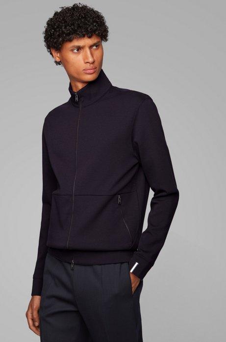Sweater met ritssluiting en biesdetail aan de boord, Lichtblauw