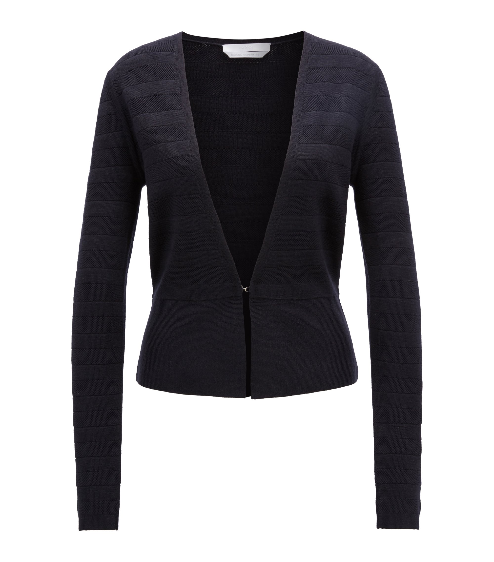 Knitted jacket in structured-stripe merino wool, Dark Blue