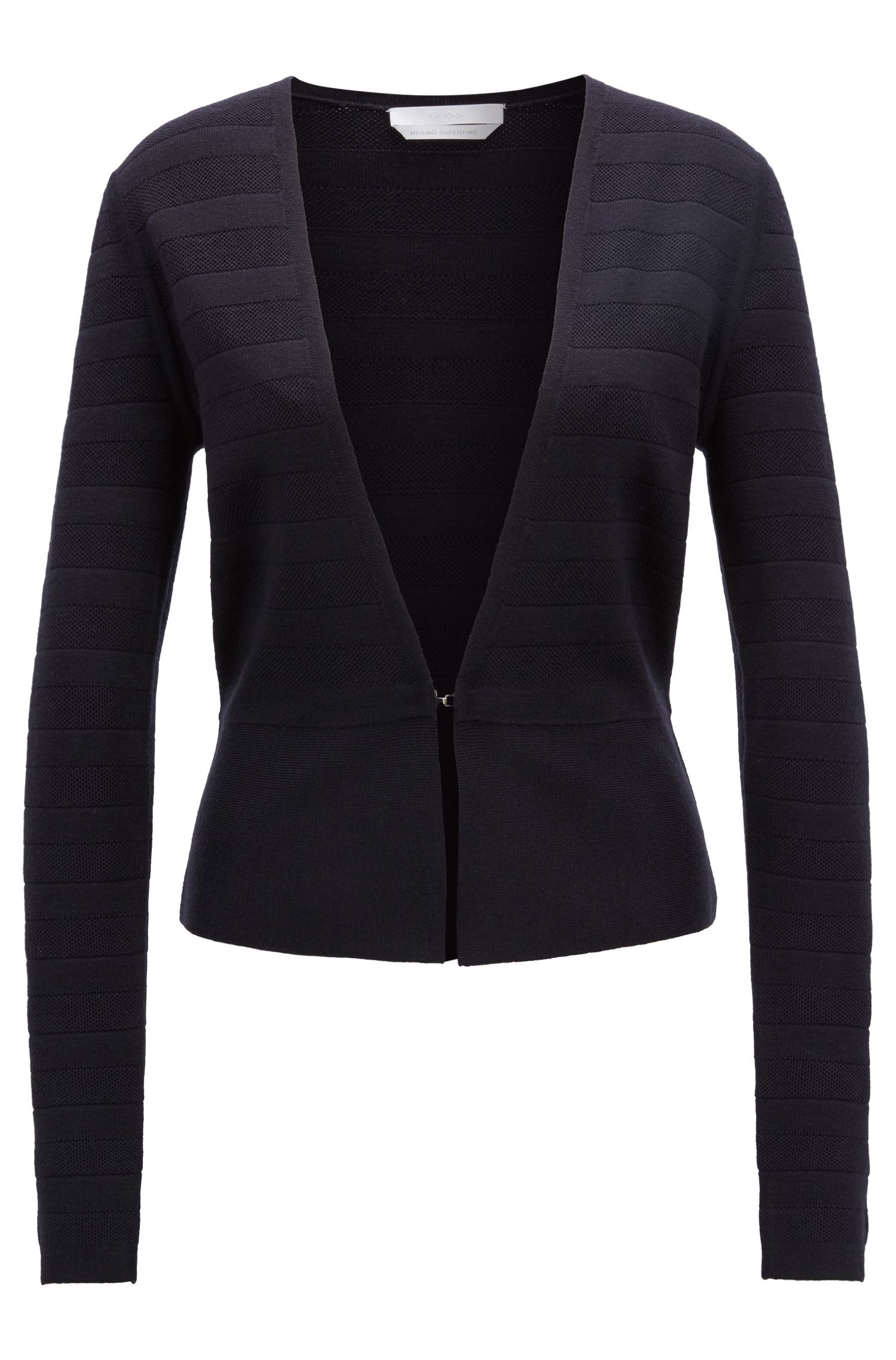 Knitted jacket in structured-stripe merino wool