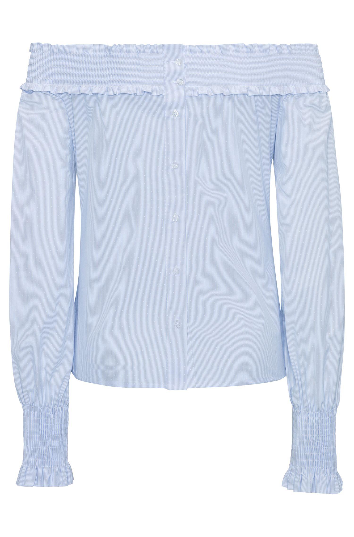 Schouderloze blouse van gestreepte dobbykatoen