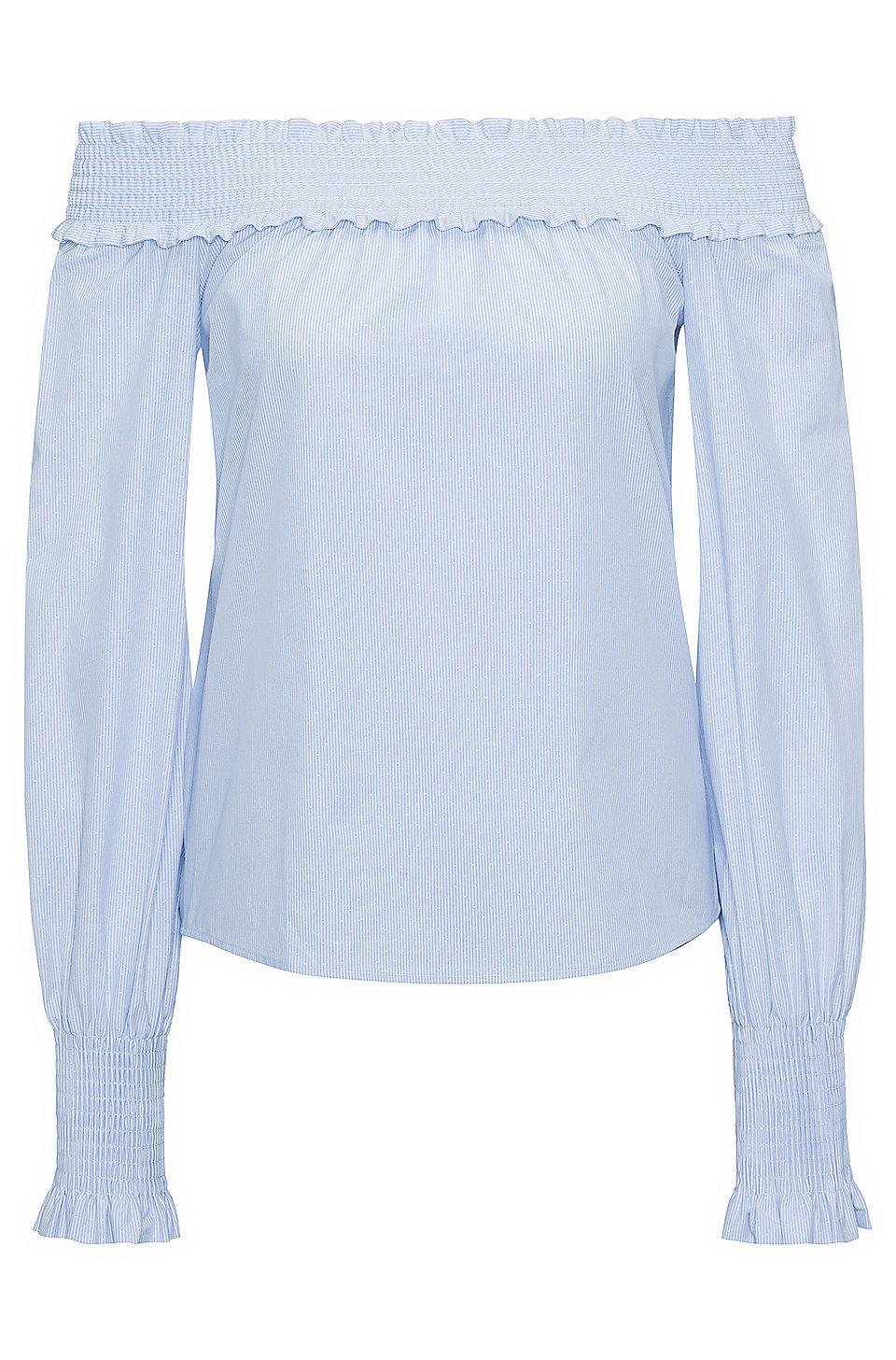 Schulterfreie Bluse aus strukturierter Baumwolle mit Streifen HUGO BOSS Steckdose Billig Verkauf Besuch Viele Arten Von w7BQC2WW