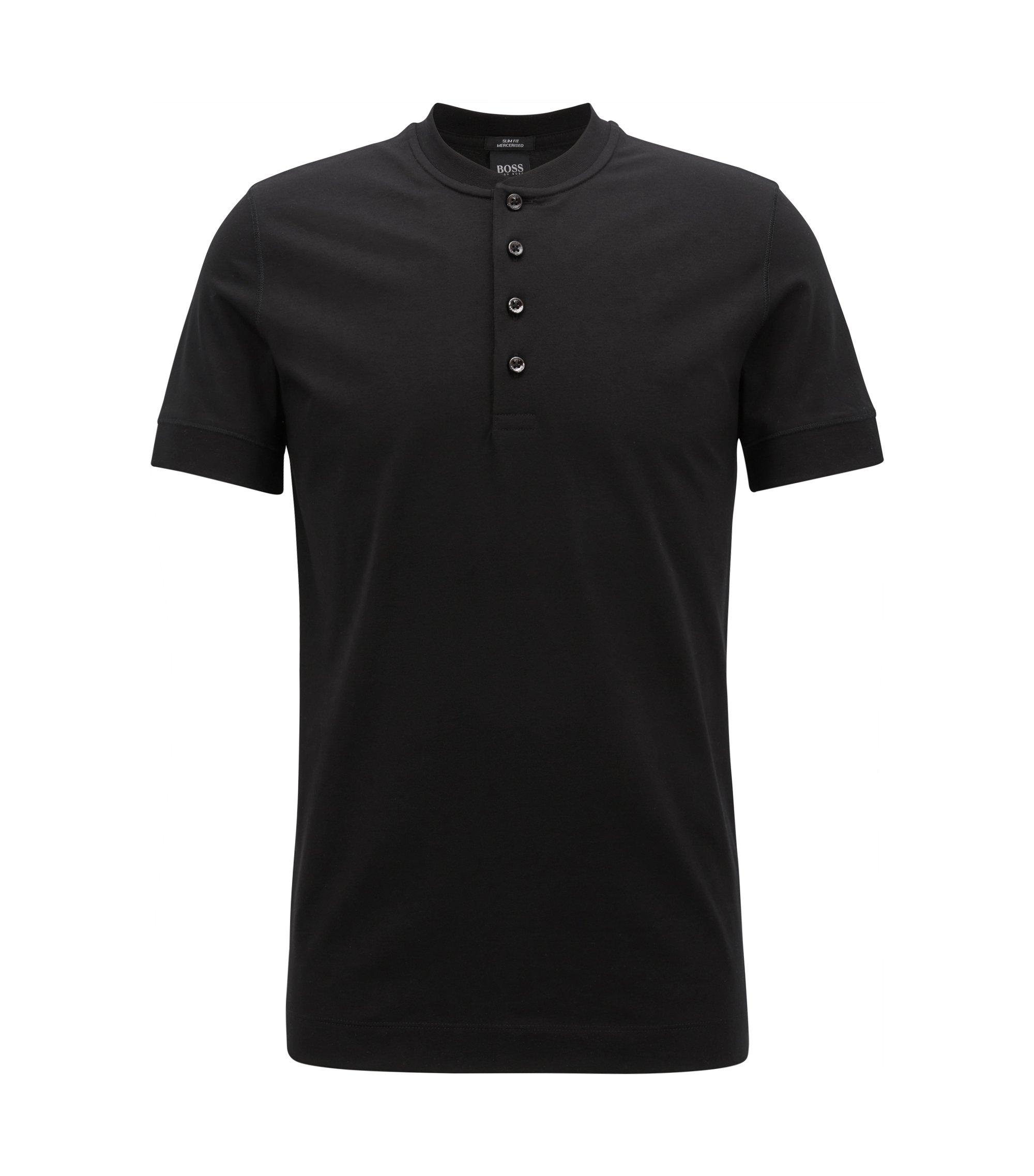 Slim-Fit T-Shirt aus merzerisierter Baumwolle mit Henley-Ausschnitt, Schwarz